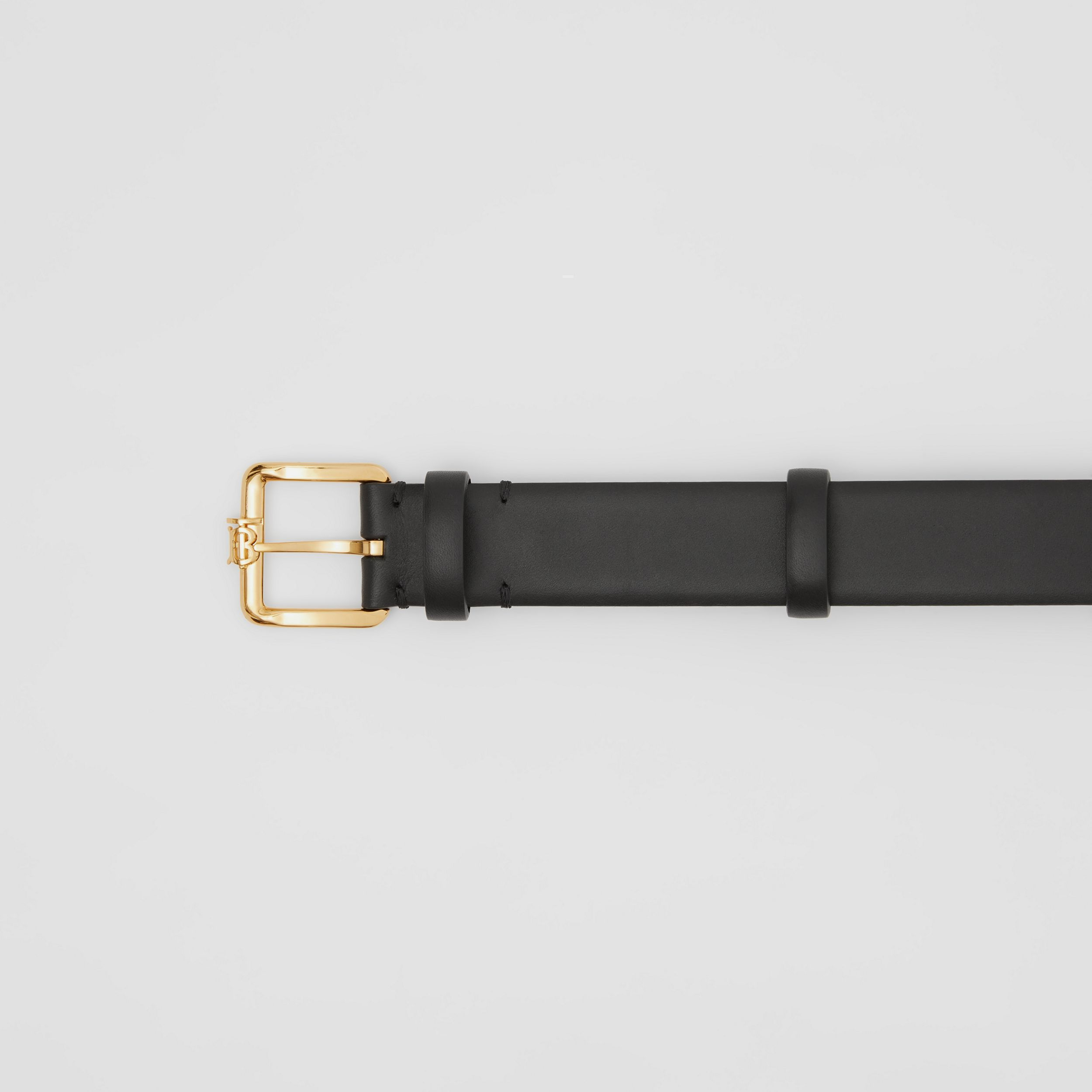 Monogram Motif Leather Belt in Black - Women | Burberry - 2