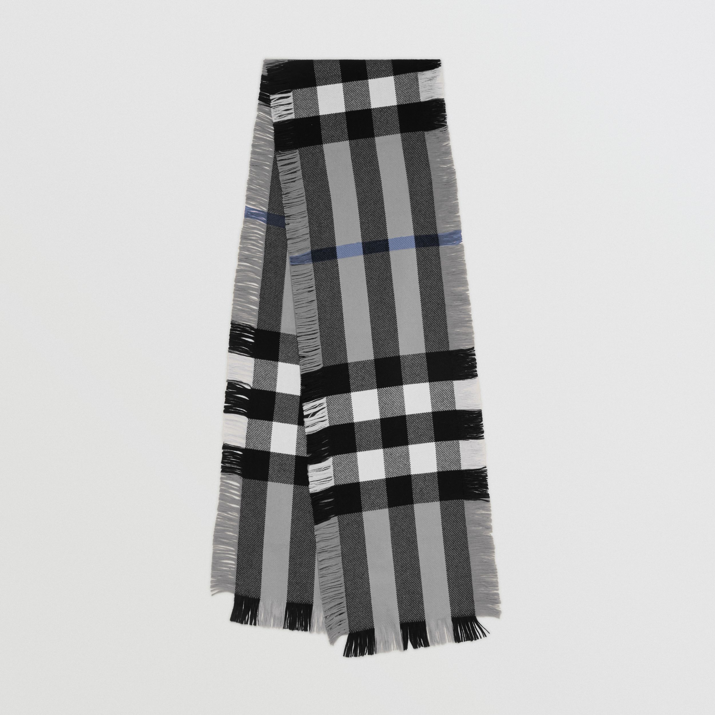 Fringed Check Wool Scarf in Mid Grey | Burberry - 1