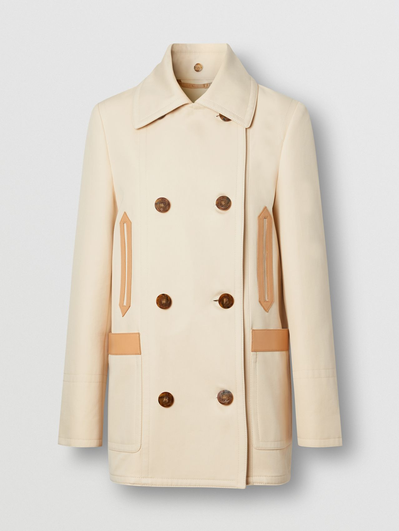 Leather Trim Cotton Pea Coat in Pale Biscuit