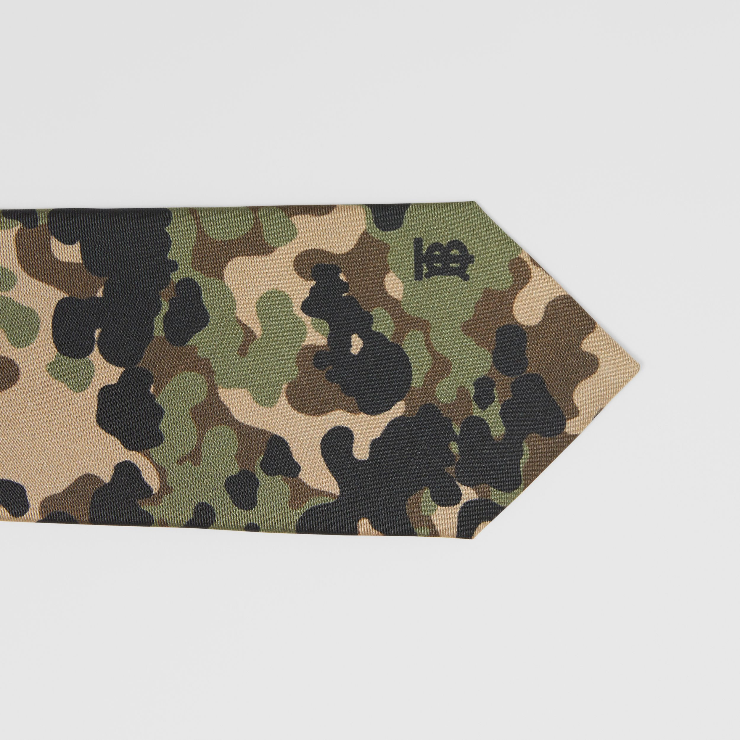 Classic Cut Camouflage Print Silk Tie in Khaki Green - Men | Burberry - 2