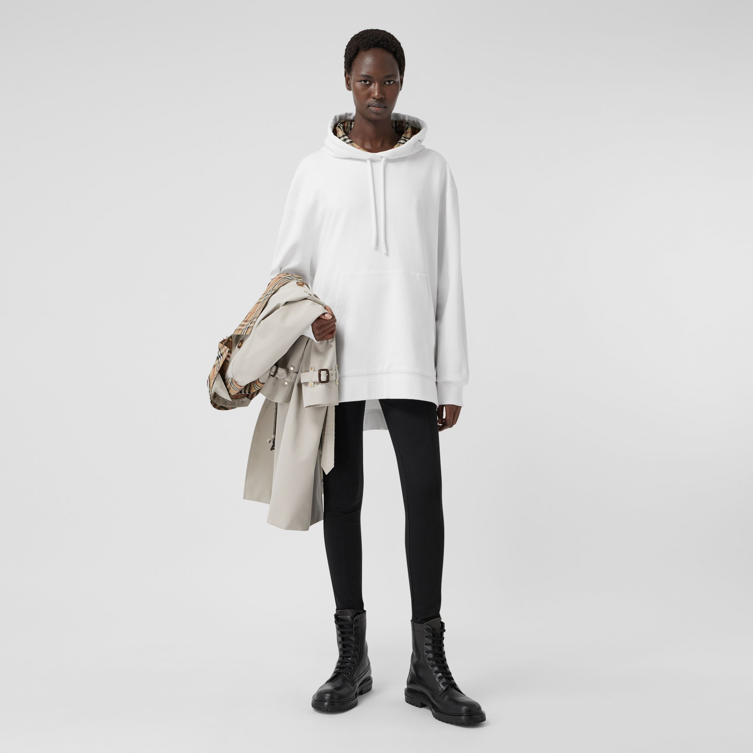 Stepped Hem Cotton Oversized Hoodie in White - Women | Burberry - 1