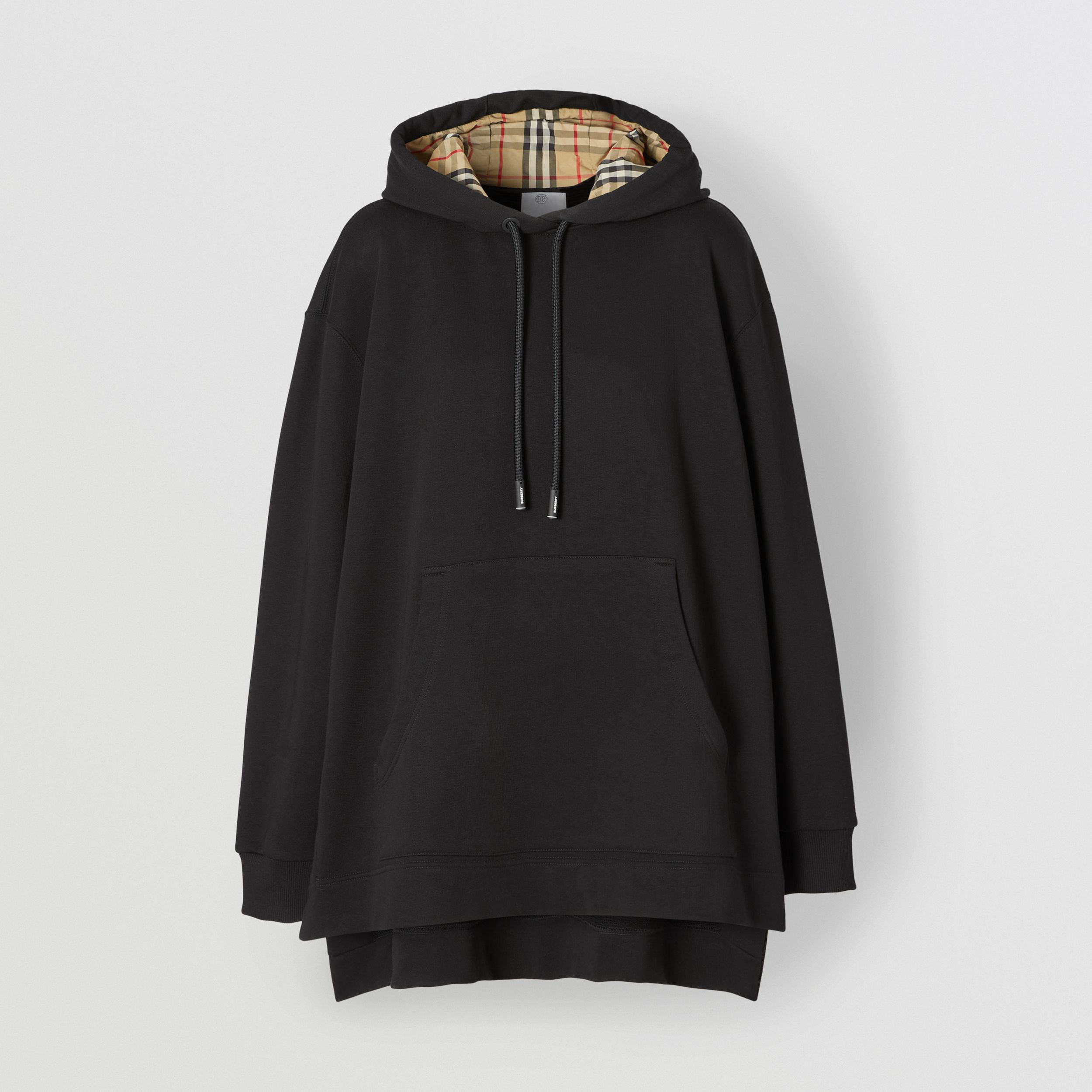 Stepped Hem Organic Cotton Oversized Hoodie in Black - Women | Burberry - 4