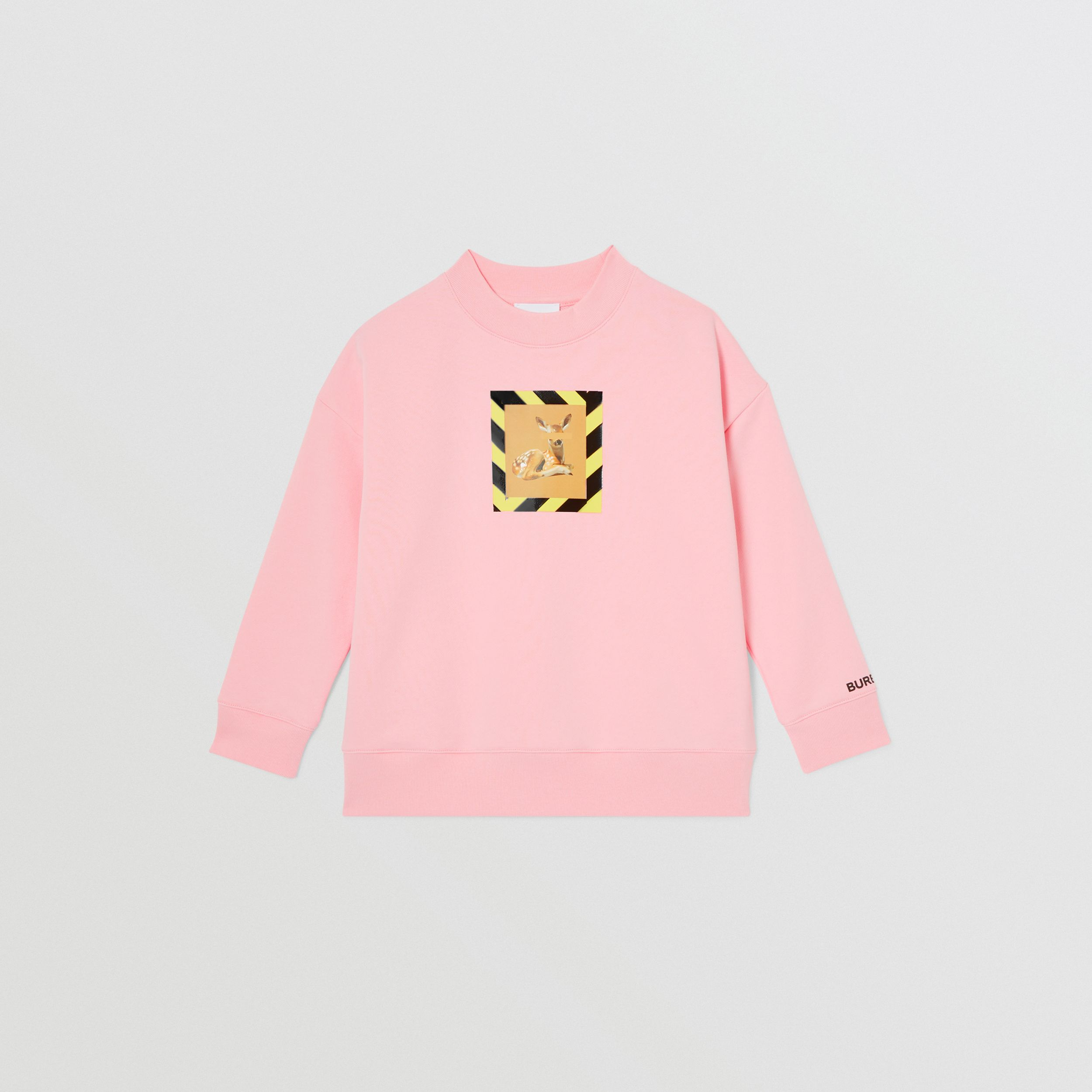 Deer Print Cotton Sweatshirt in Candy Pink | Burberry - 1