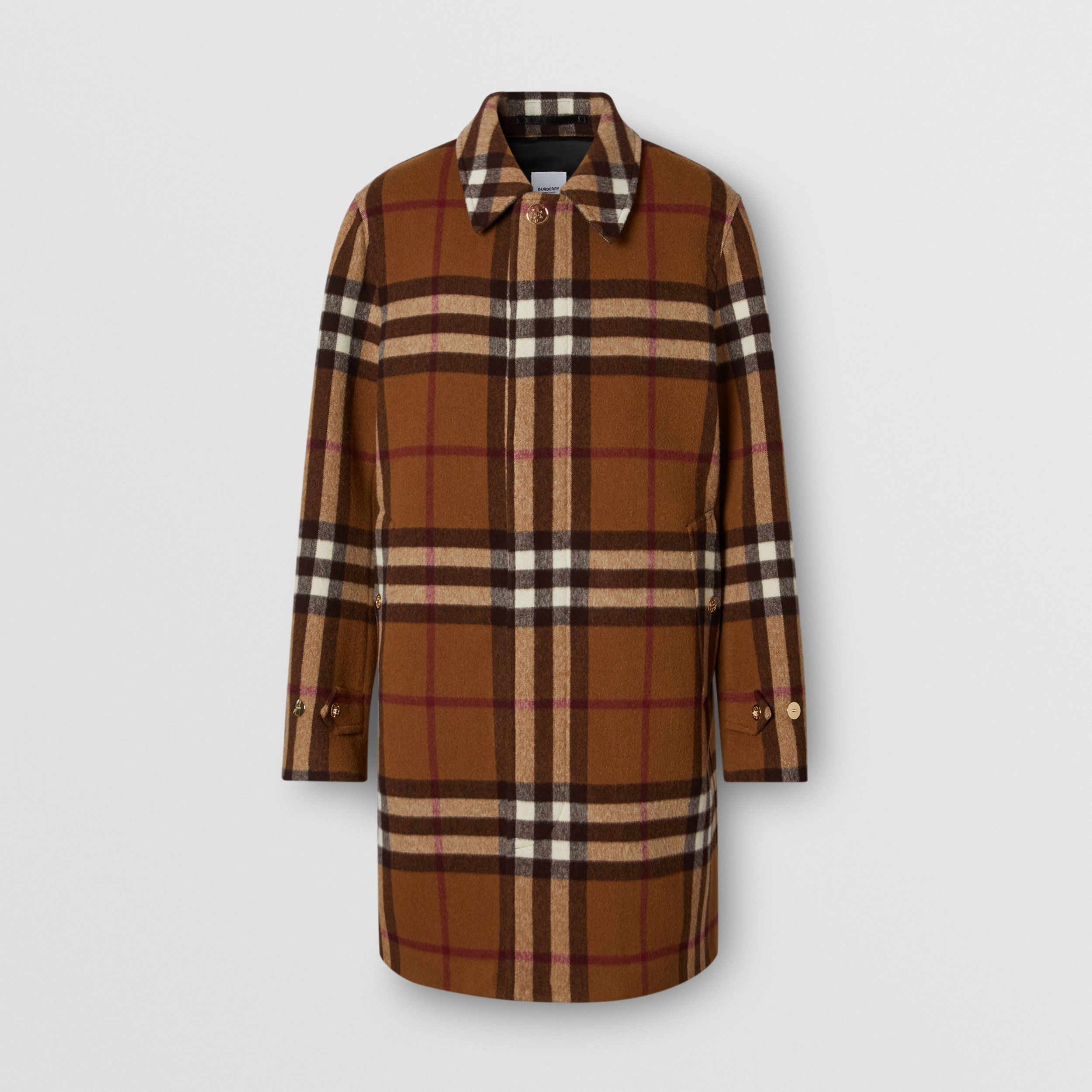 Double-faced Check Wool Car Coat in Dark Birch Brown | Burberry - 4