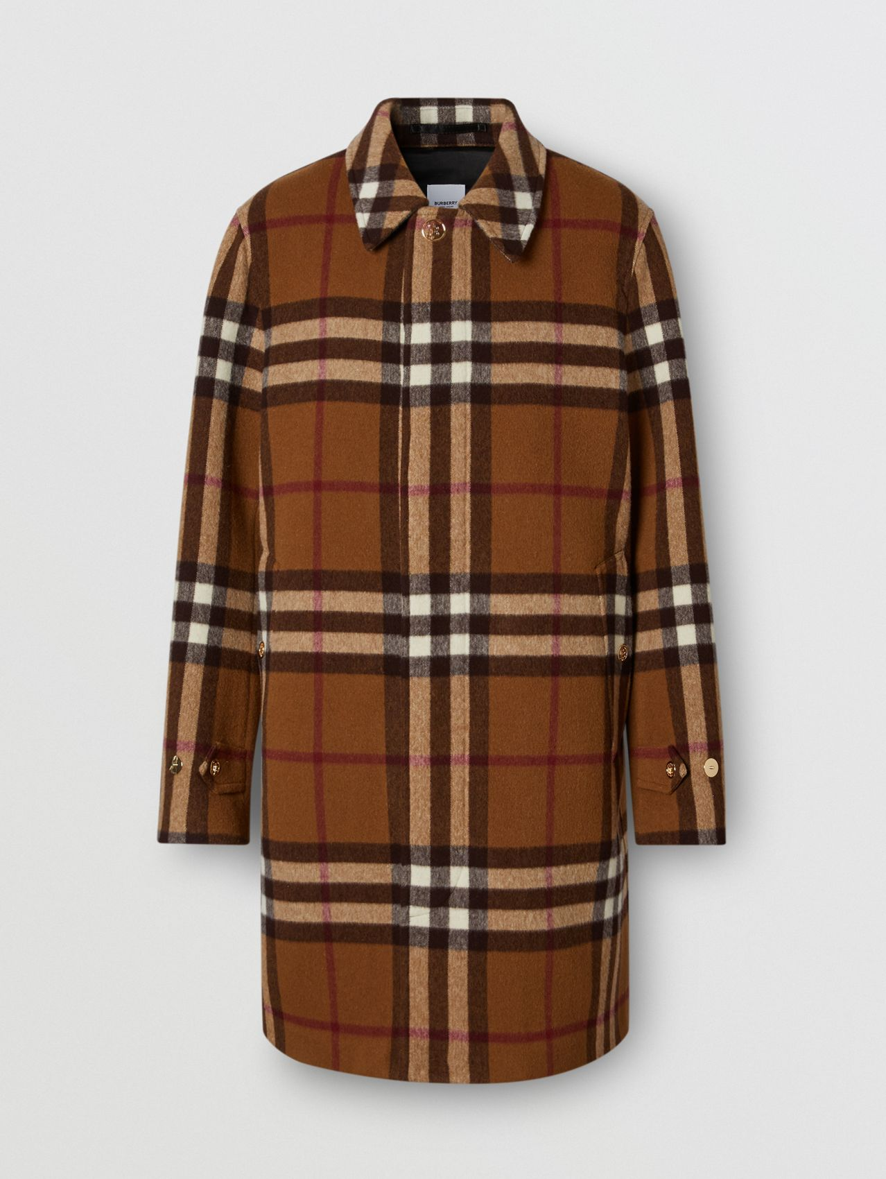 Car coat in lana double face con motivo tartan (Marrone Betulla Scuro)