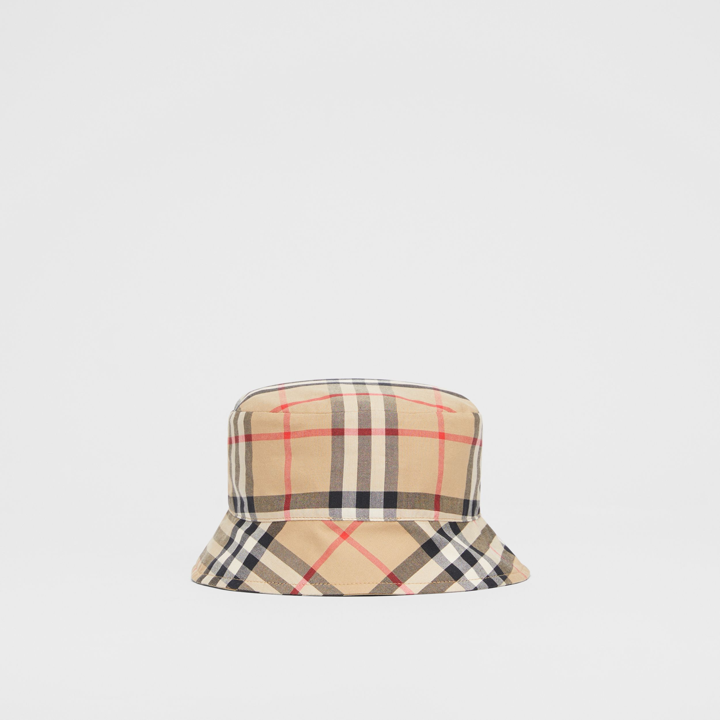 Reversible Vintage Check and Icon Stripe Bucket Hat in Archive Beige - Children | Burberry - 4