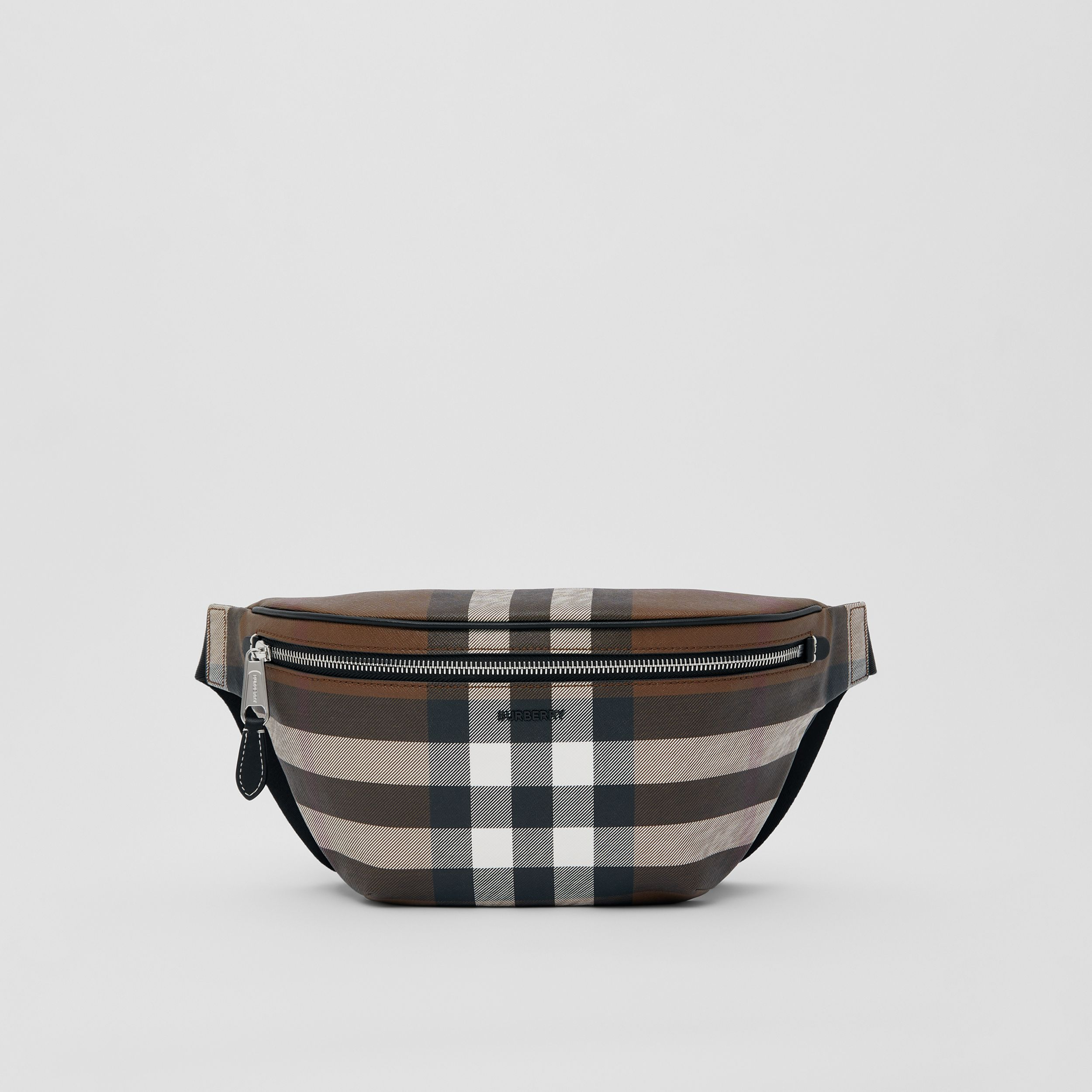 Check E-canvas Bum Bag in Dark Birch Brown | Burberry - 1