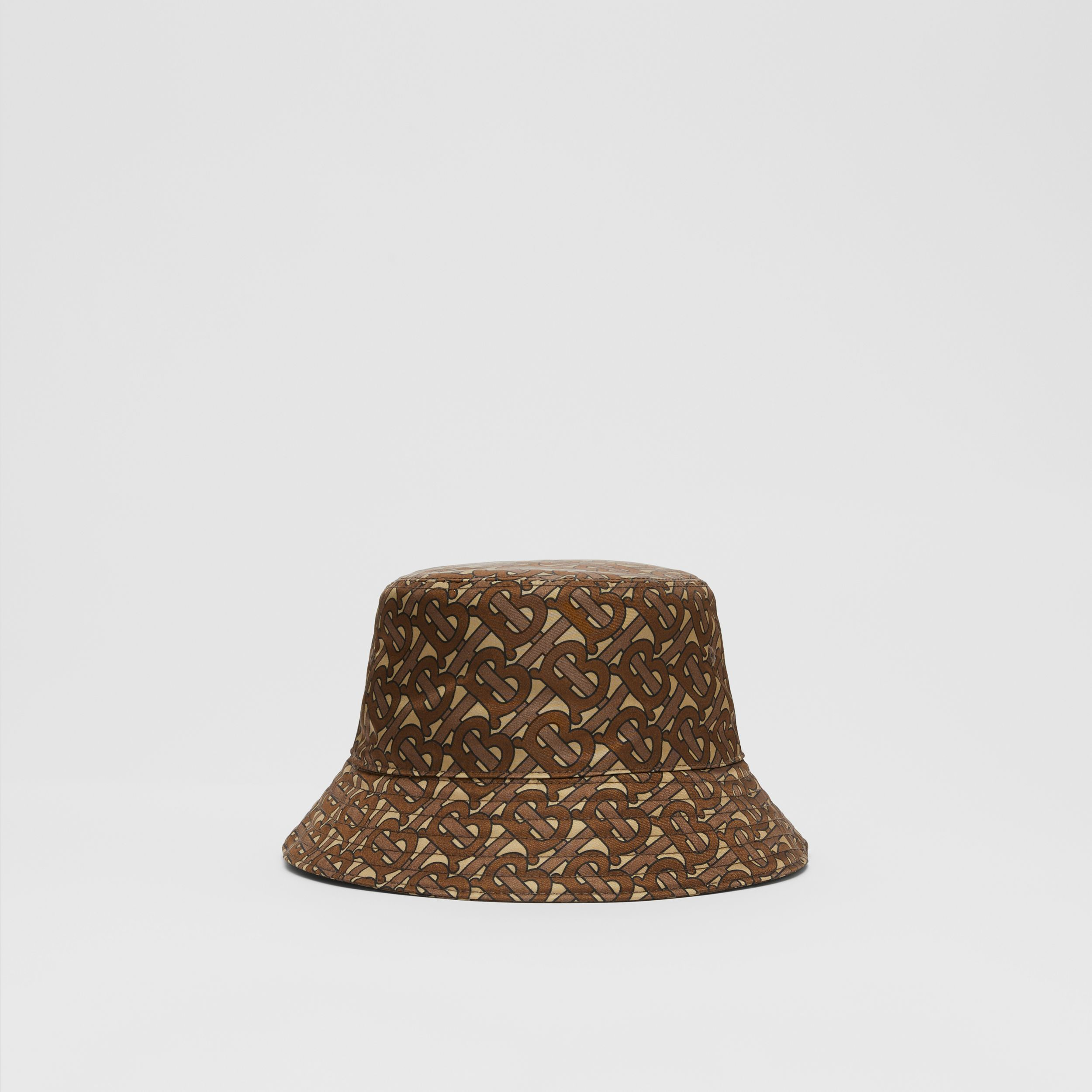 Monogram Print ECONYL® Bucket Hat in Bridle Brown | Burberry United Kingdom - 1