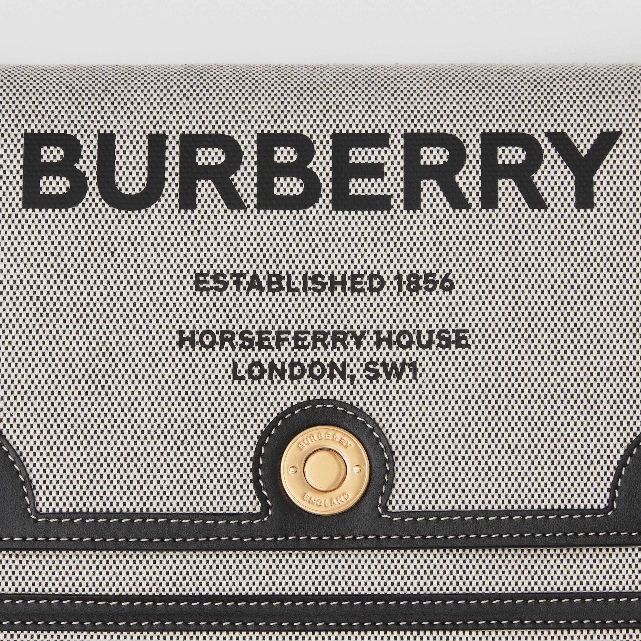 Horseferry Print Canvas Note Crossbody Bag in Black/black/tan - Women | Burberry - 2