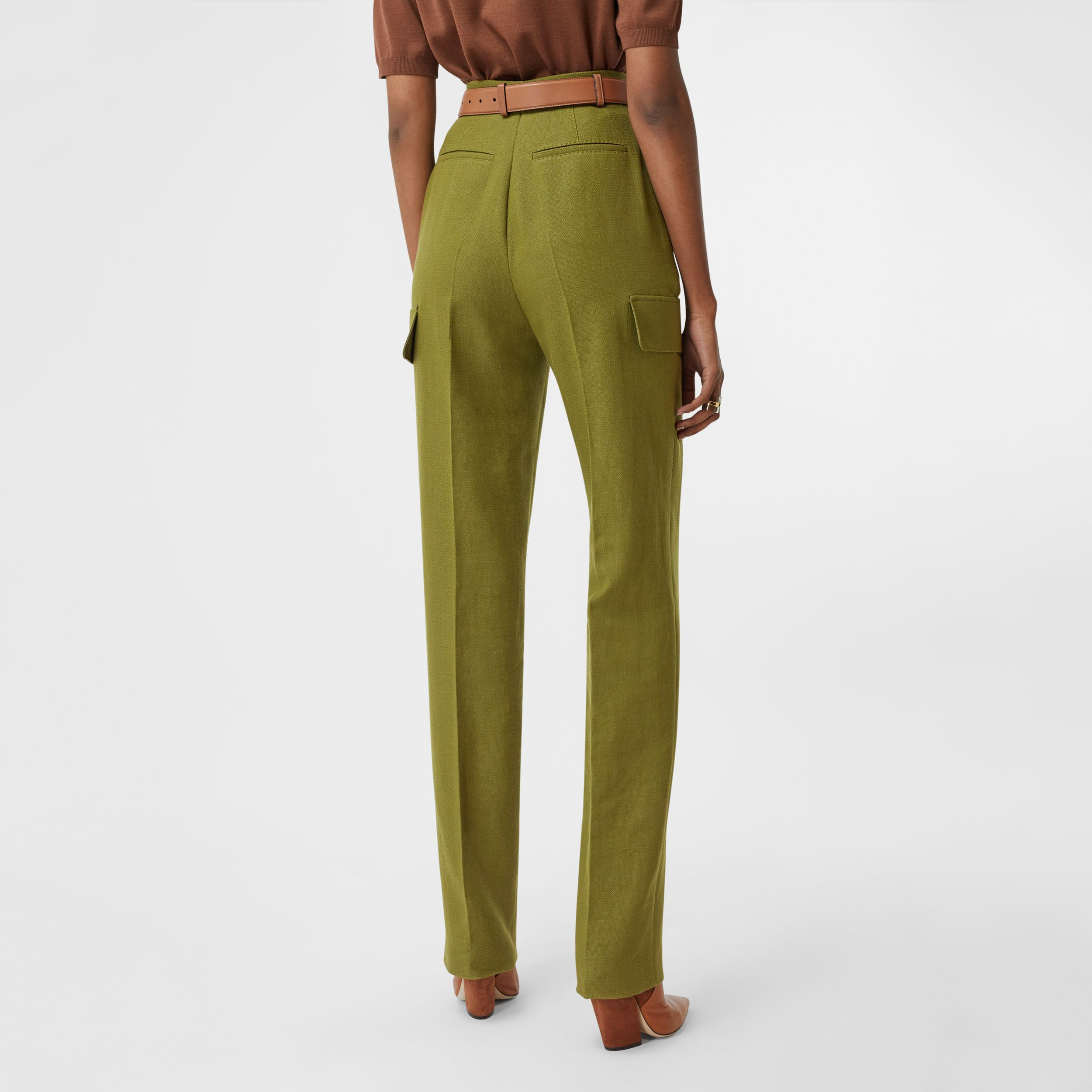 Wool Ramie Tailored Trousers in Juniper Green - Women | Burberry - 3