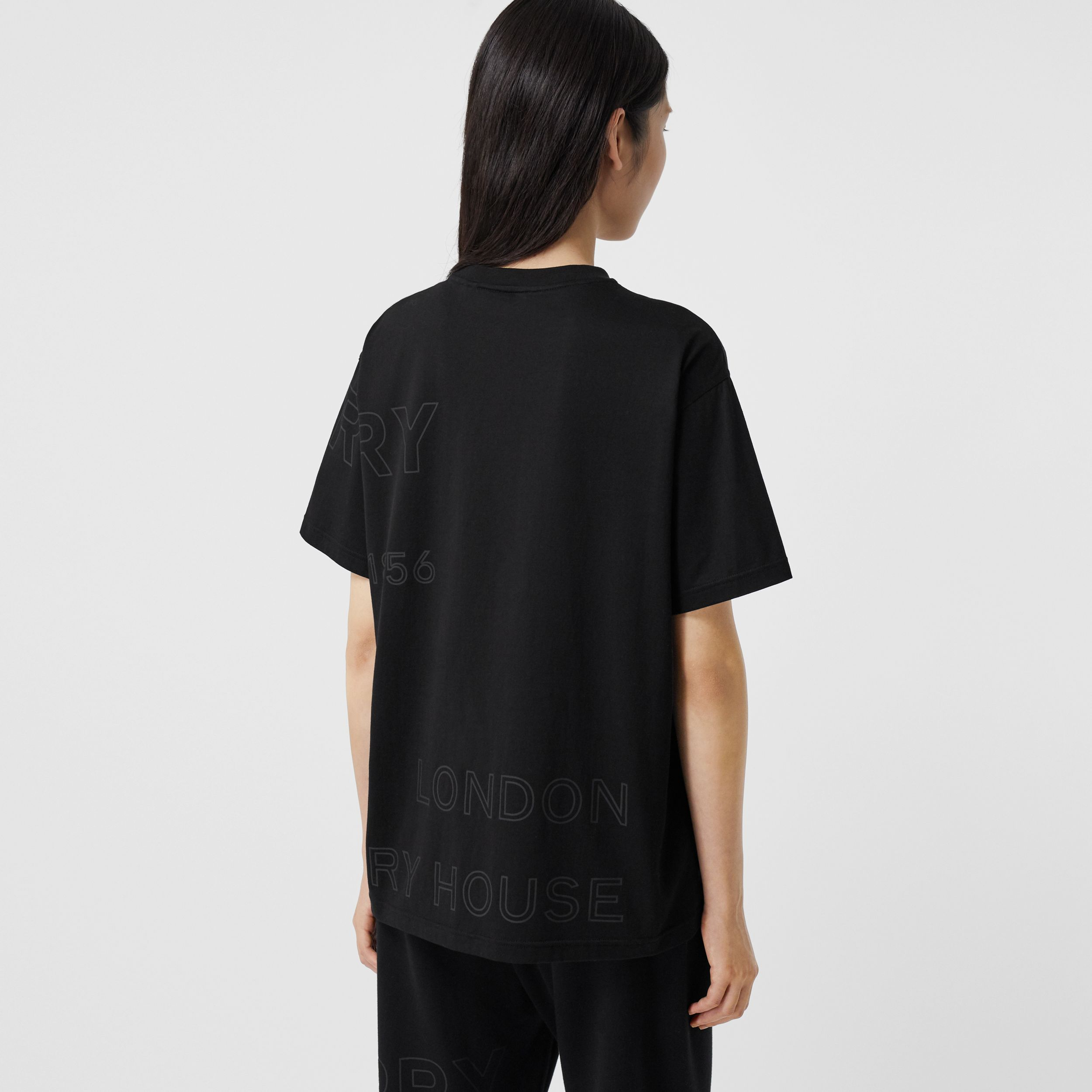 Horseferry Print Cotton Oversized T-shirt in Black - Women | Burberry - 3