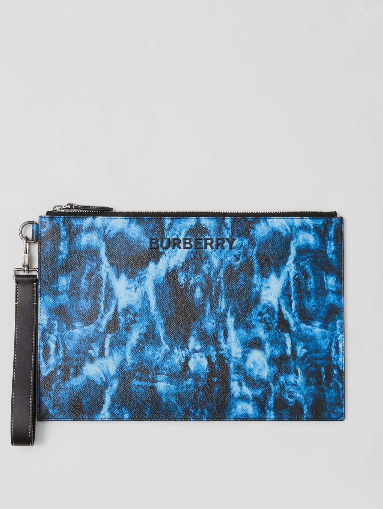 Ripple Print Leather Zip Pouch in Midnight Navy