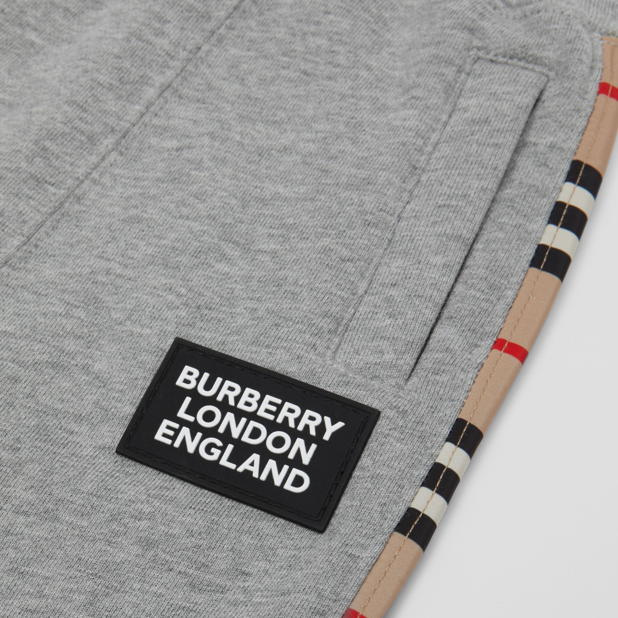 Icon Stripe Panel Cotton Jogging Pants in Grey Melange - Children | Burberry - 2