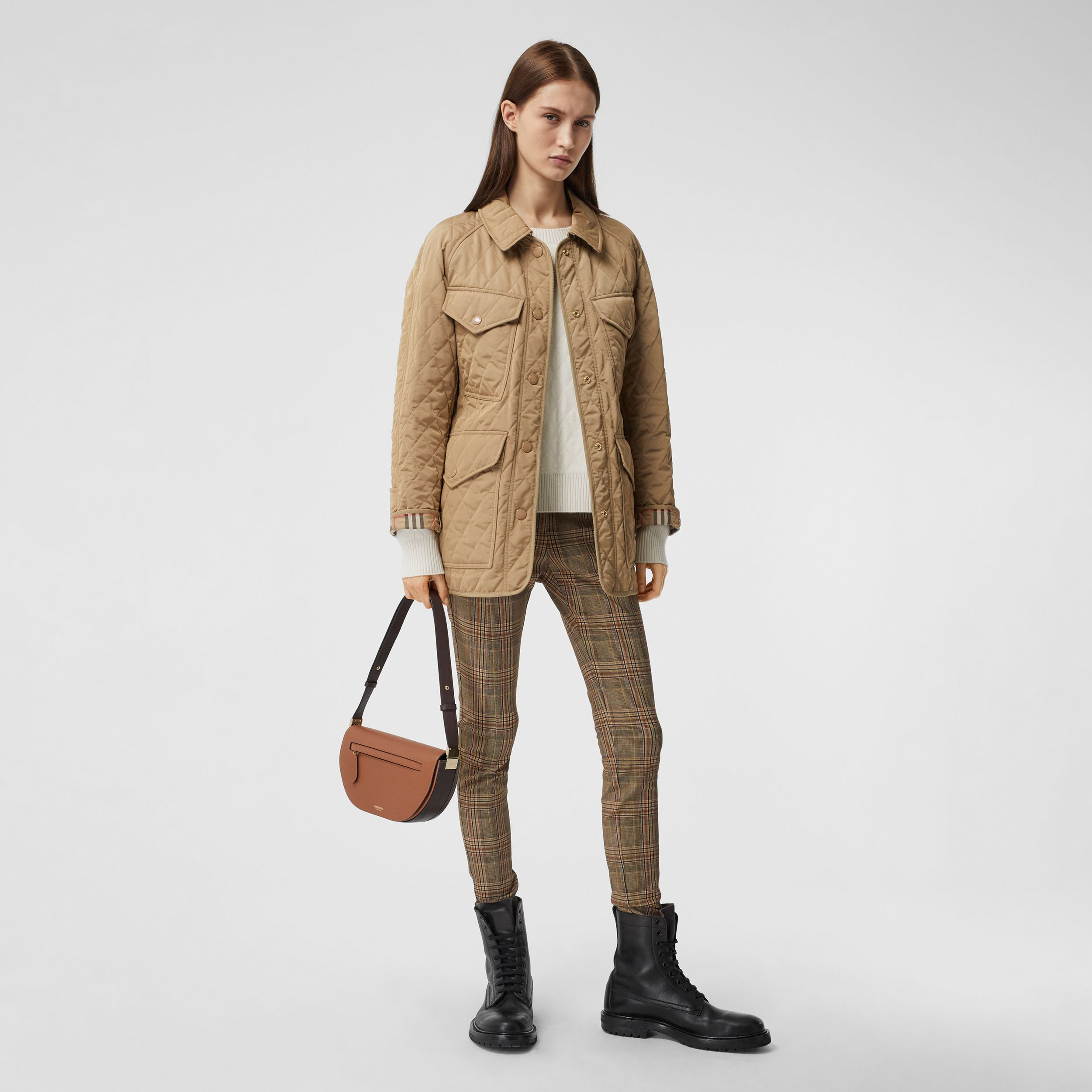 Diamond Quilted Nylon Canvas Field Jacket in Archive Beige - Women | Burberry - 1