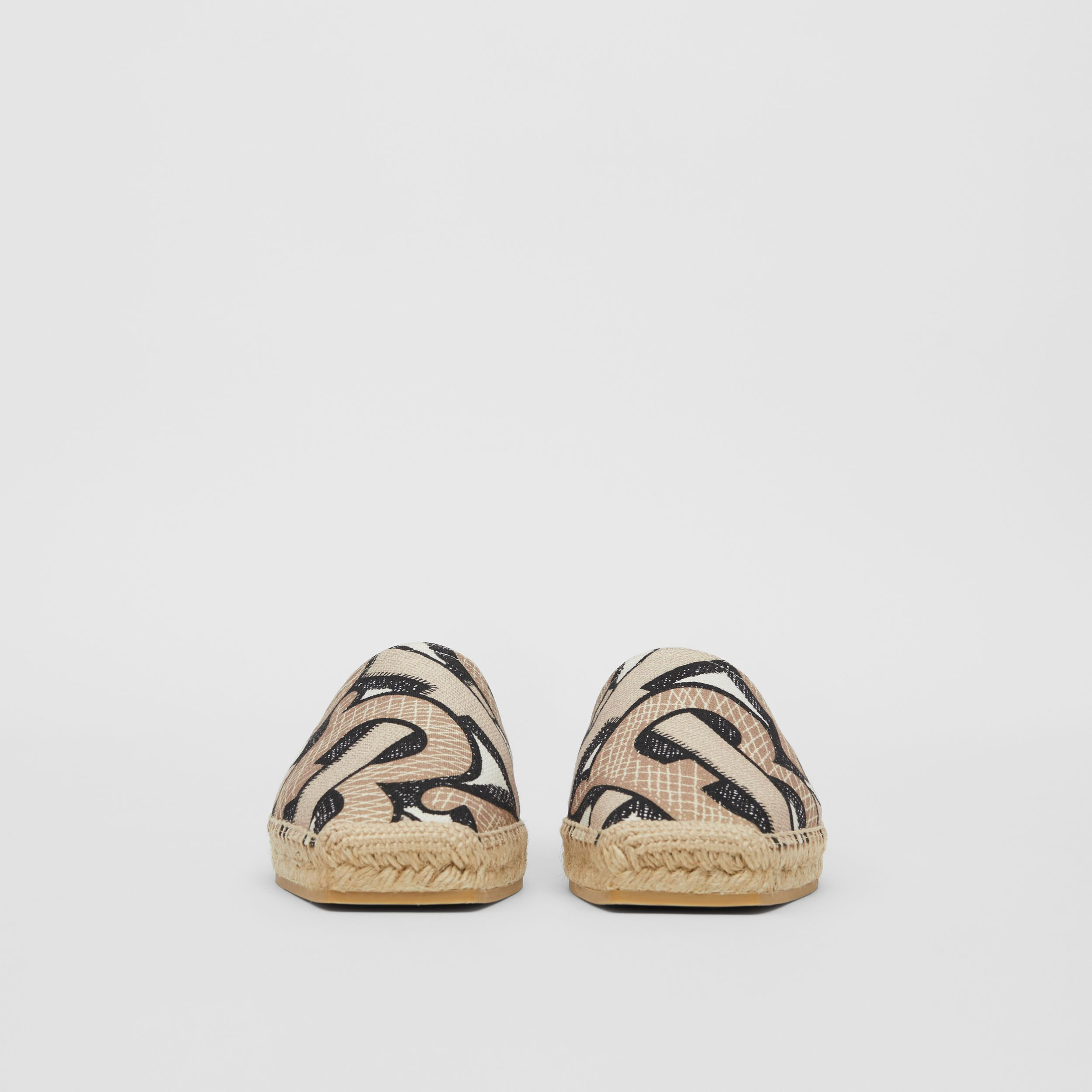 Monogram Print Cotton Canvas Espadrilles in Dark Beige - Women | Burberry - 4