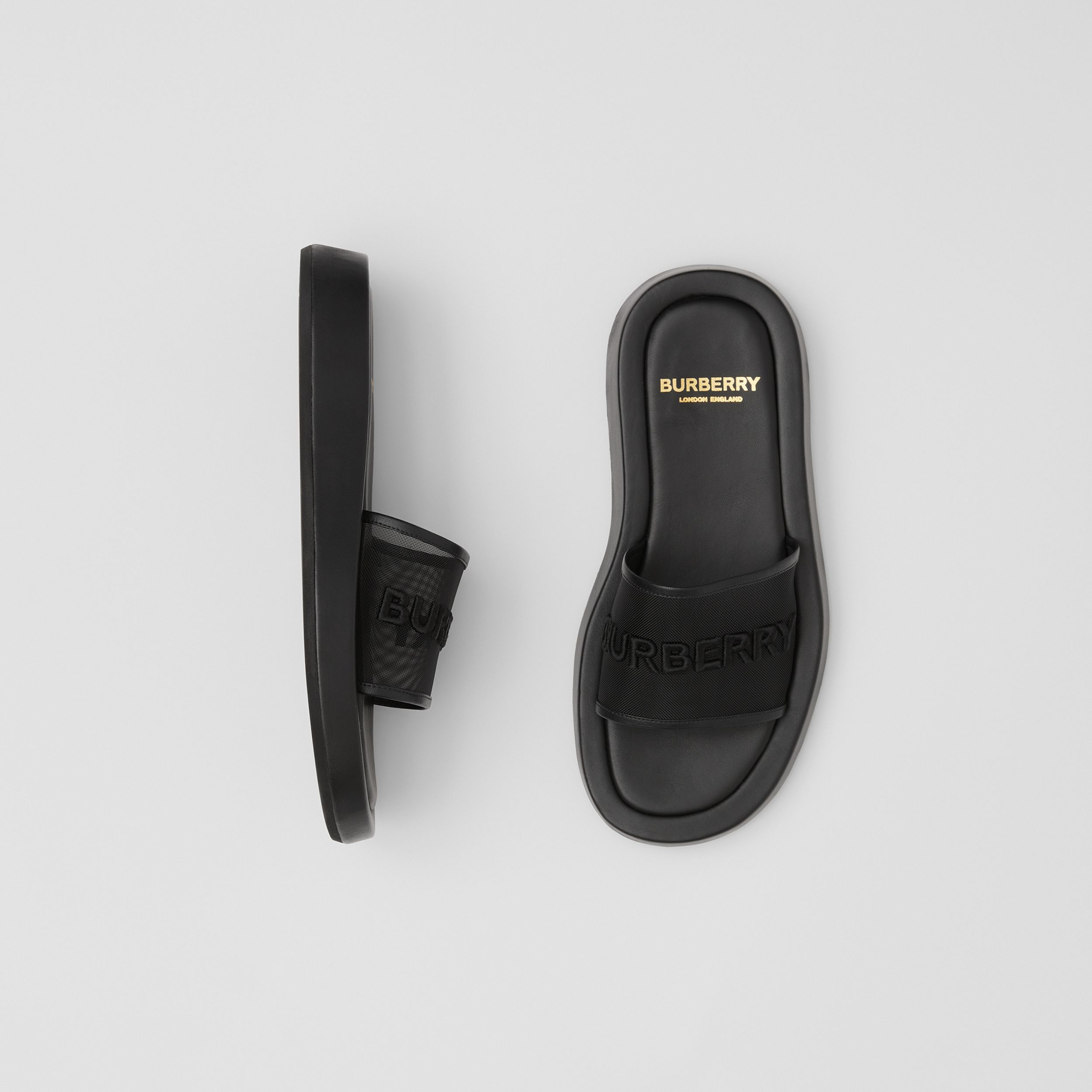 Embroidered Logo Mesh and Leather Slides in Black - Women | Burberry - 1