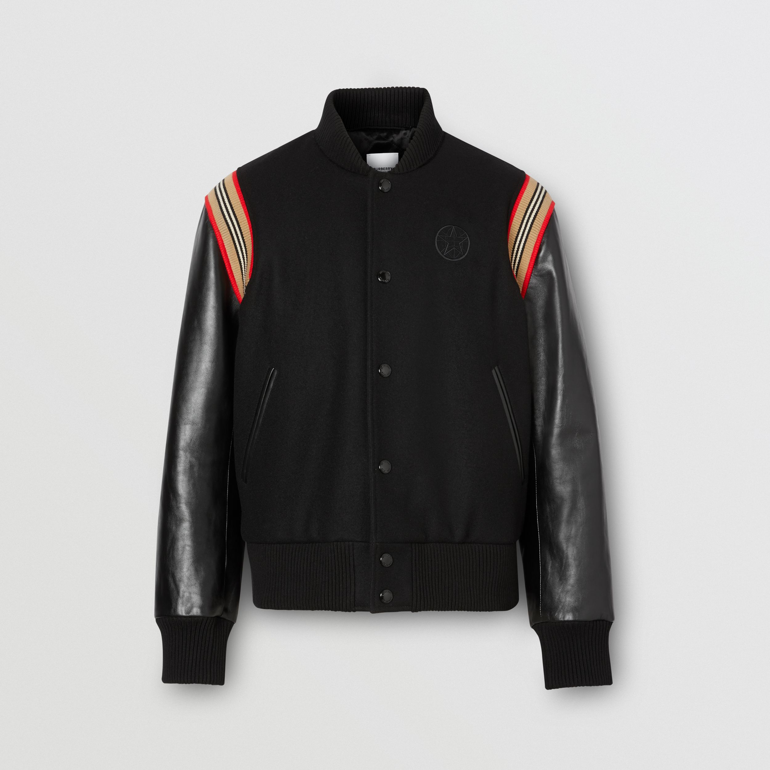 Icon Stripe Trim Wool Felt and Leather Bomber Jacket - Men | Burberry - 4