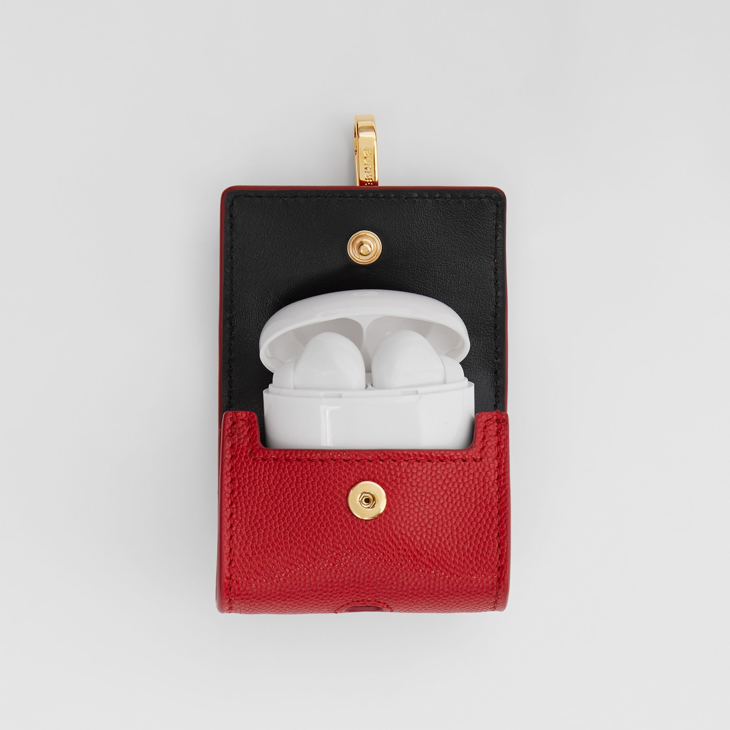 Grainy Leather AirPods Pro Case in Bright Red | Burberry Singapore - 3