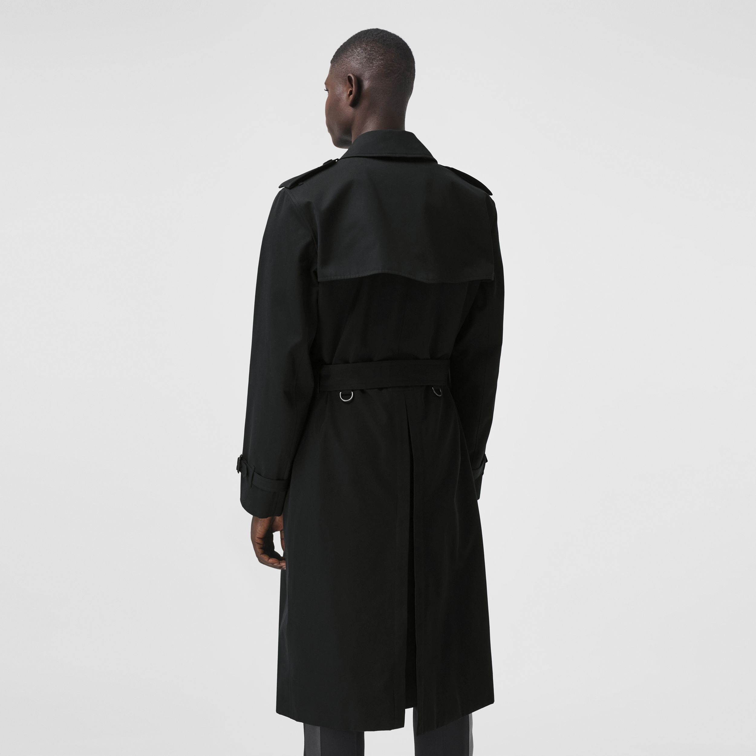 Logo Detail Cotton Gabardine Trench Coat in Black - Men | Burberry - 3