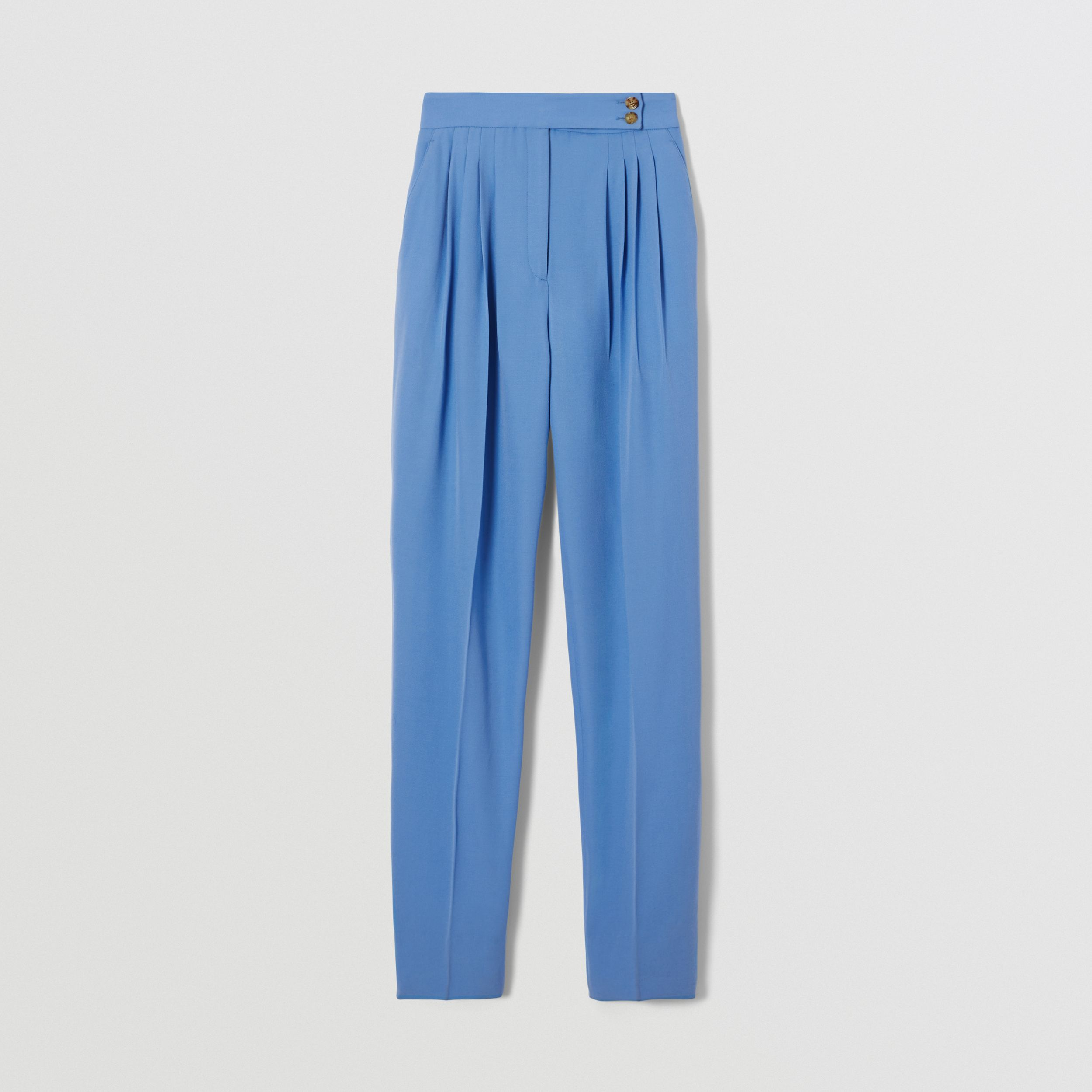 Mohair Wool Pleated Trousers in Cobalt - Women | Burberry United Kingdom - 4