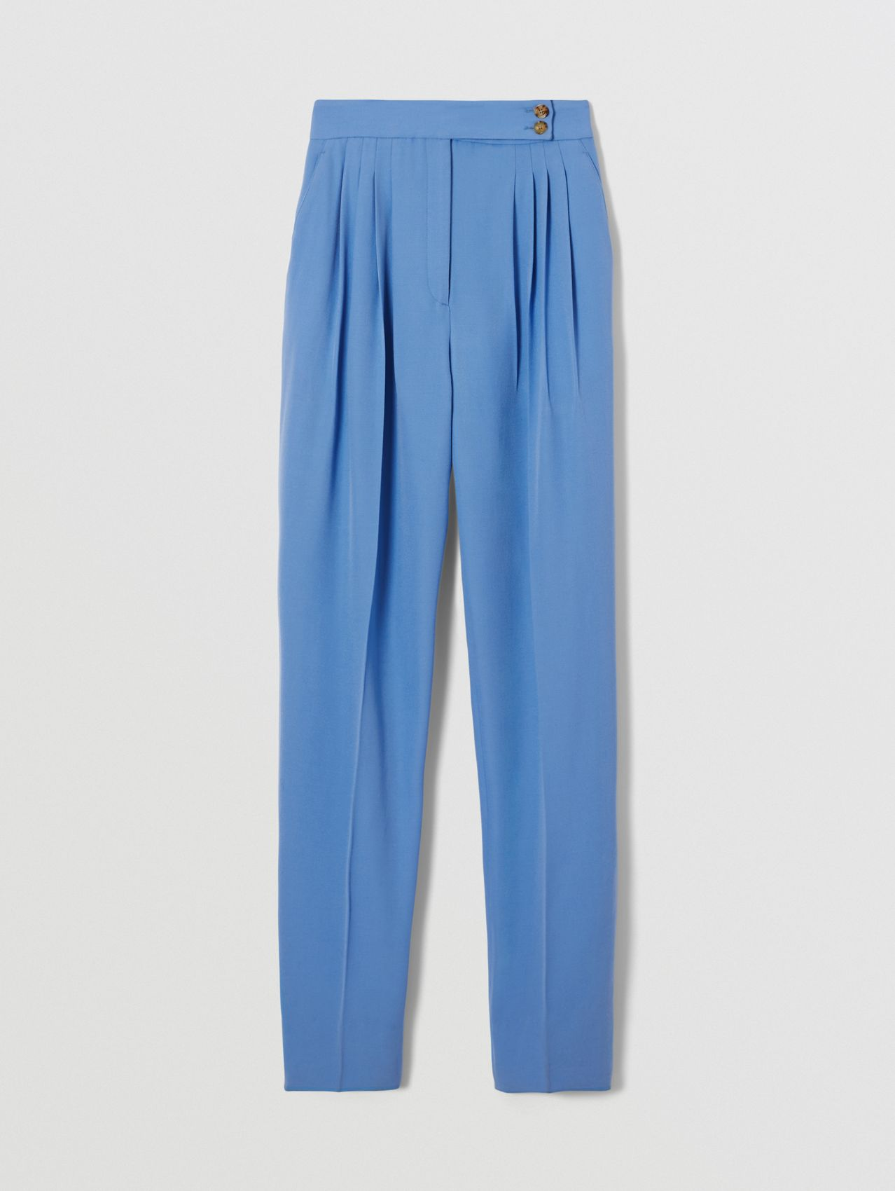 Mohair Wool Pleated Trousers in Cobalt