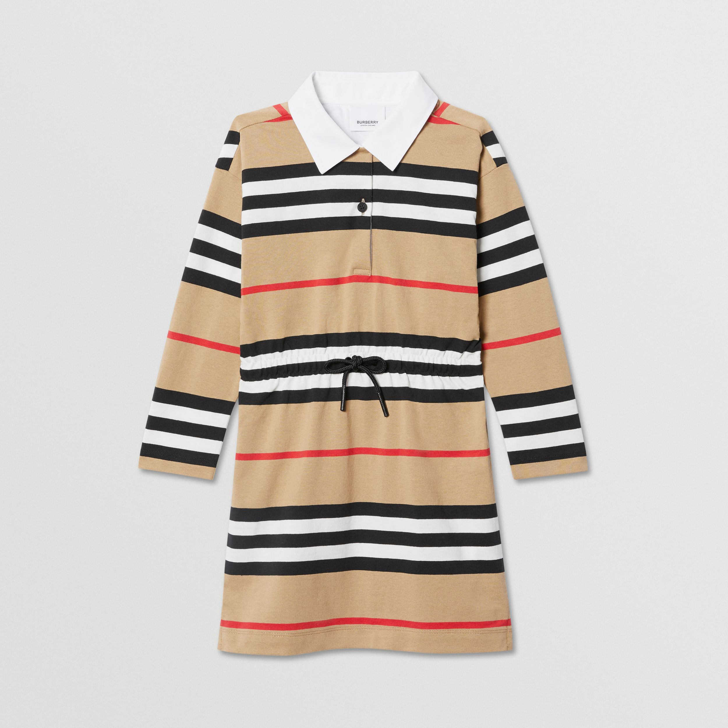 Long-sleeve Icon Stripe Cotton Dress in Archive Beige | Burberry - 1