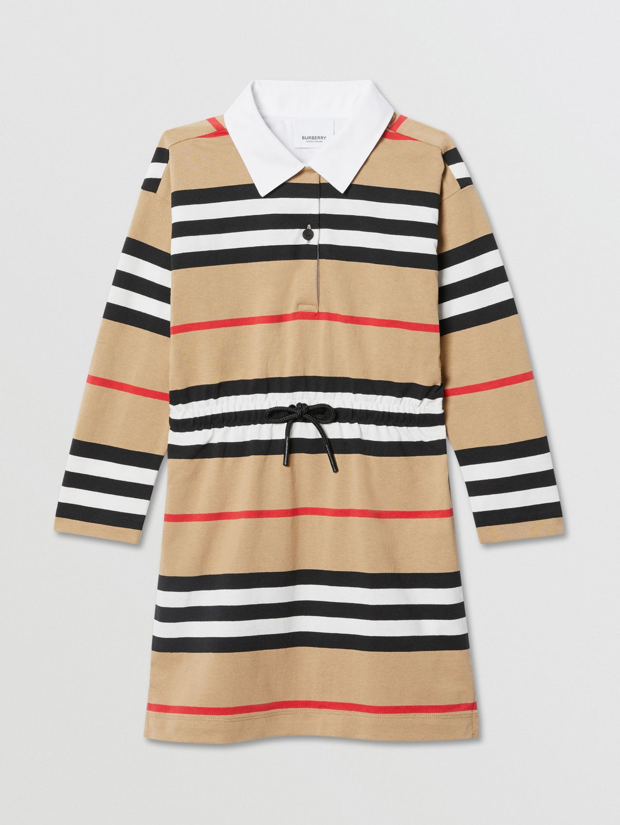 Long-sleeve Icon Stripe Cotton Dress (Archive Beige)