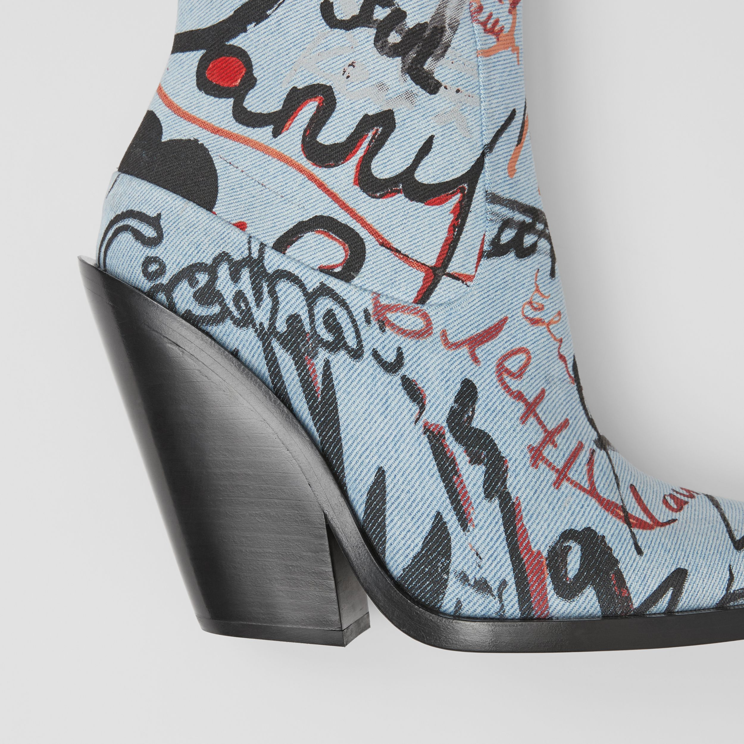 Graffiti Print Denim Block-heel Ankle Boots in Multicolour - Women | Burberry Hong Kong S.A.R. - 2