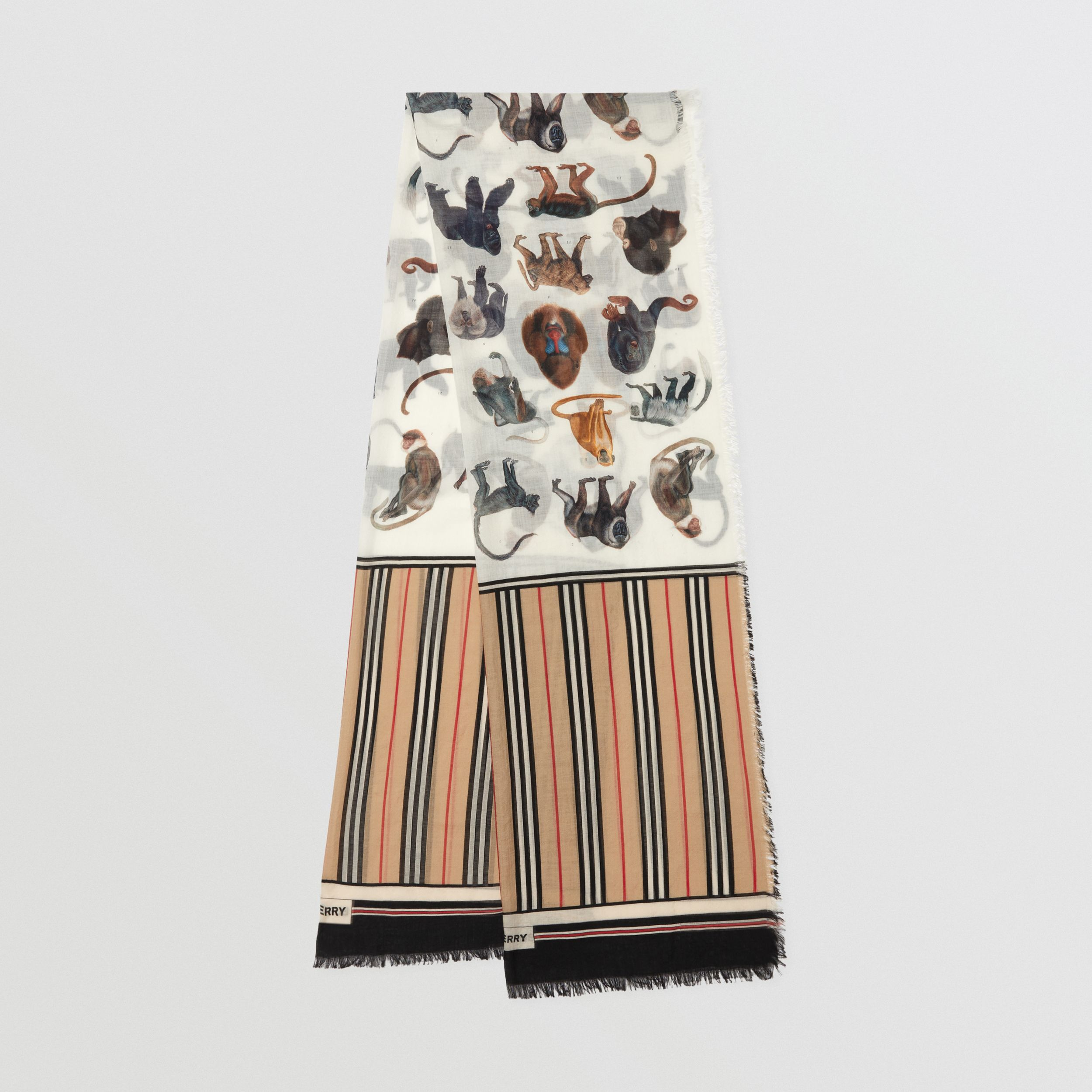 Icon Stripe and Monkey Print Wool Silk Scarf in Archive Beige | Burberry - 1