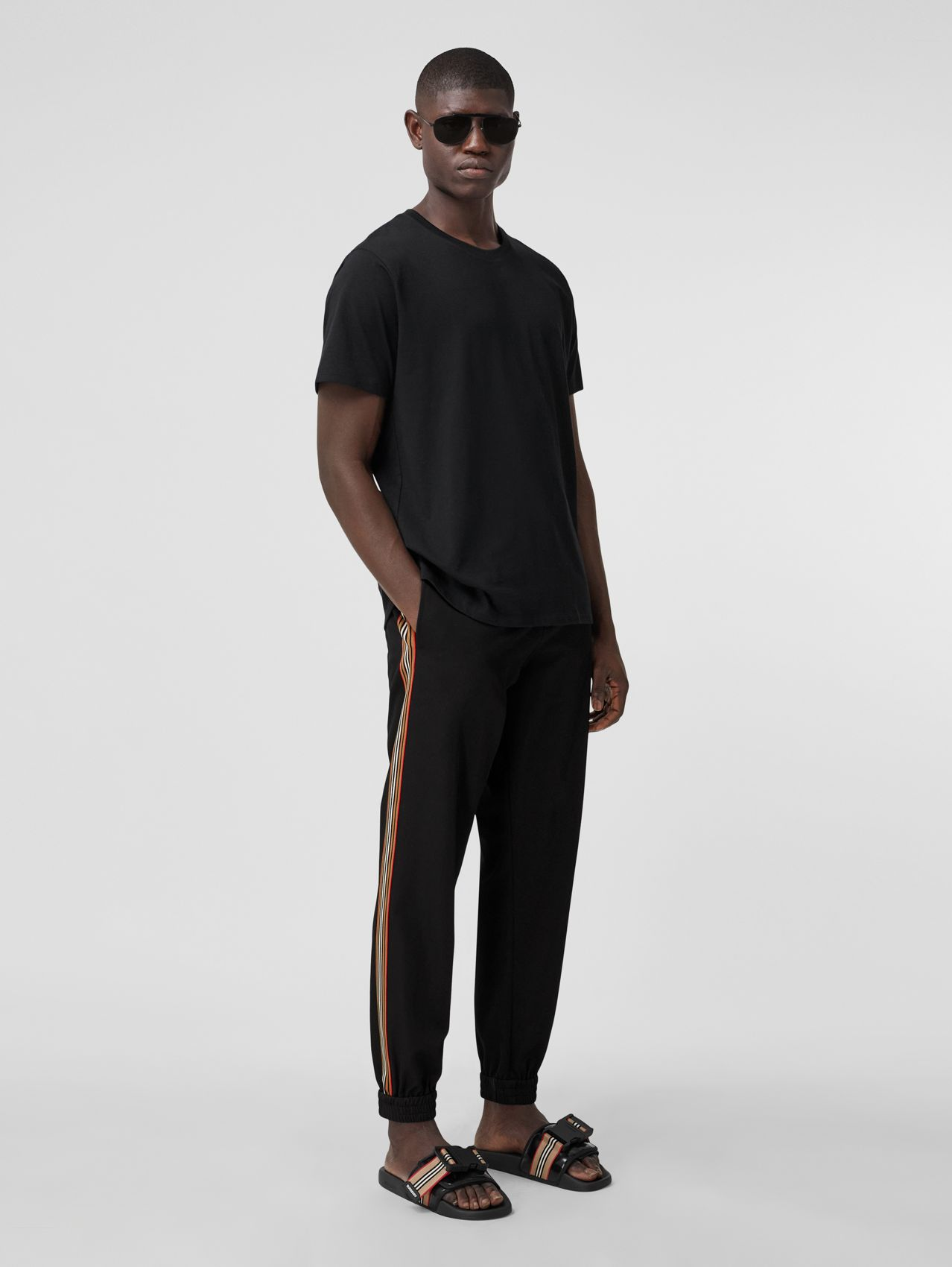 Stripe Detail Technical Wool Jogging Pants in Black