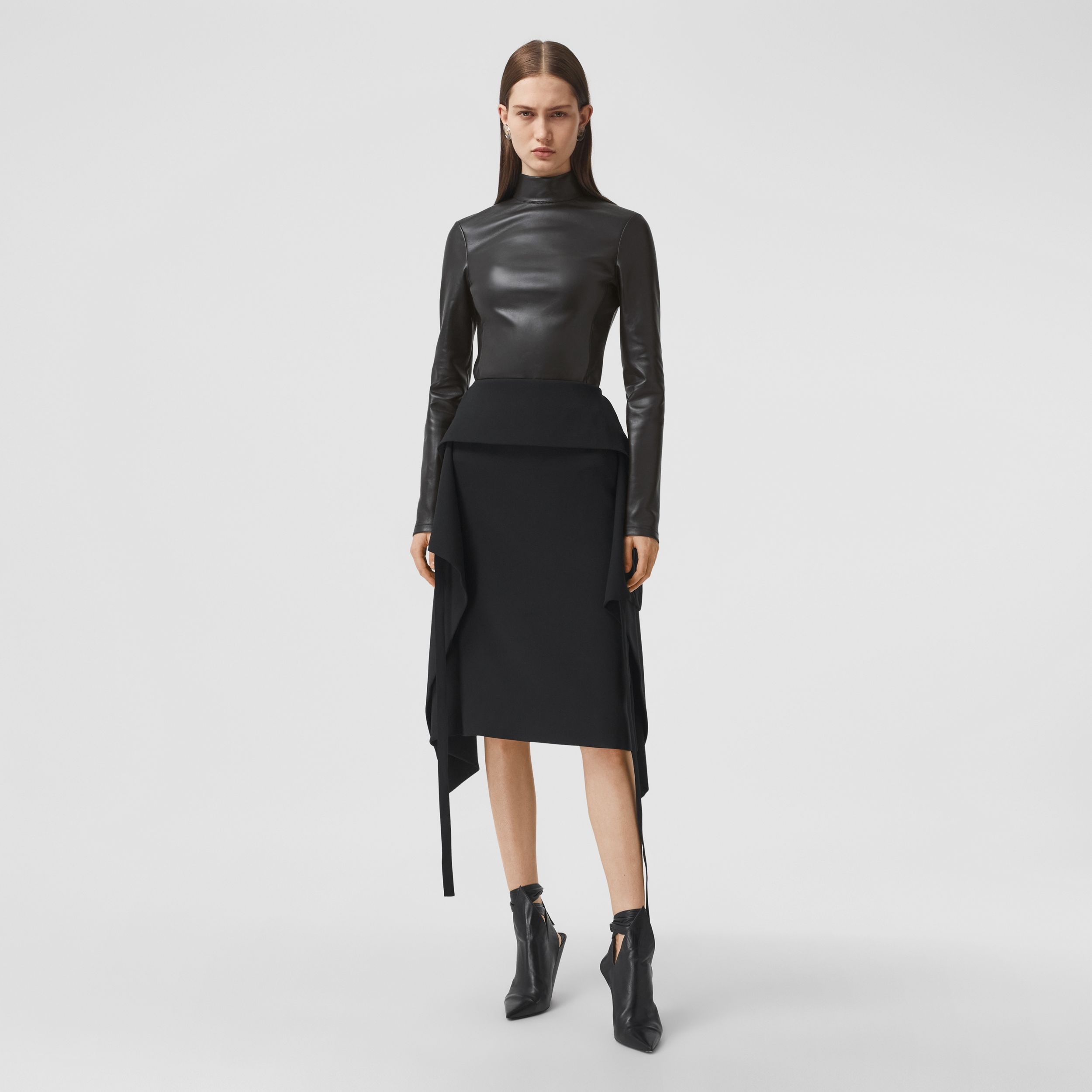 Stretch Lambskin Turtleneck Top in Black - Women | Burberry - 1