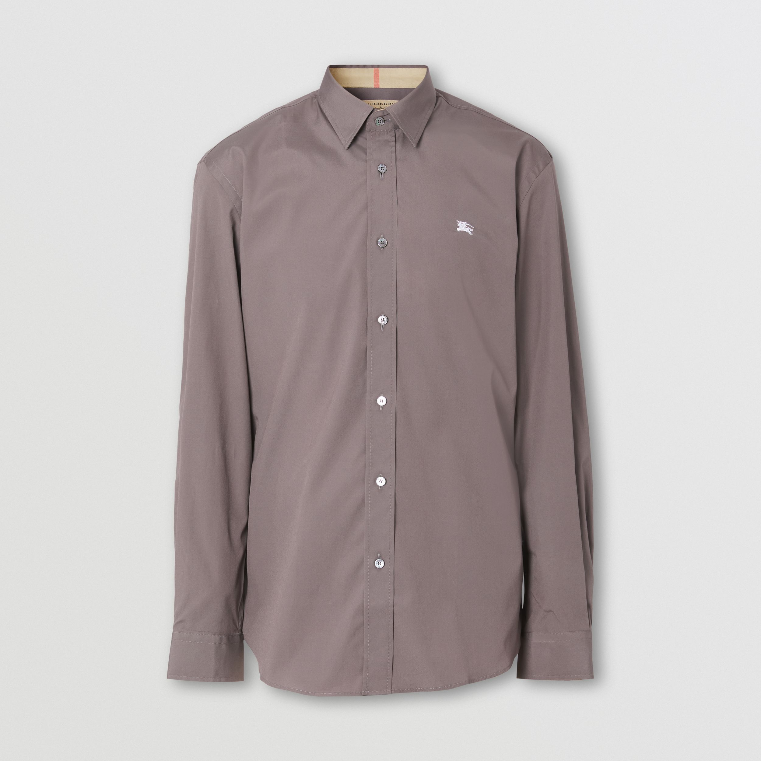 Embroidered EKD Stretch Cotton Poplin Shirt in Stone Grey - Men | Burberry - 1