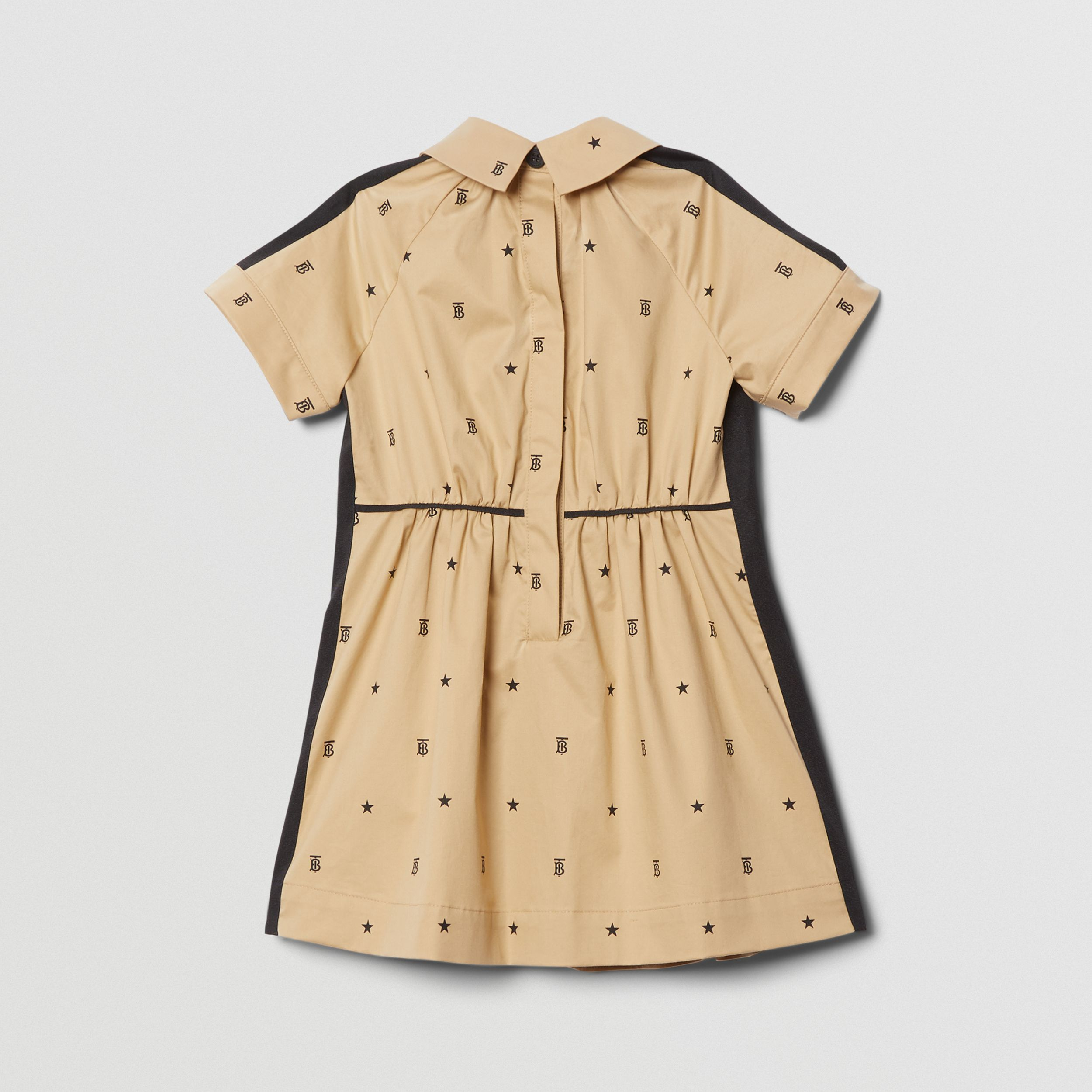Star and Monogram Motif Stretch Cotton Dress in Sand - Children | Burberry - 4