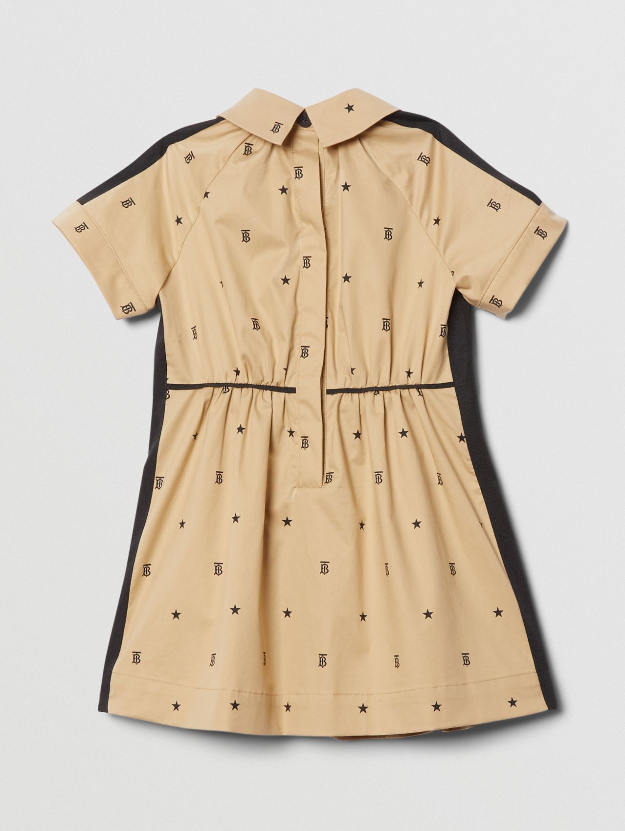 Star and Monogram Motif Stretch Cotton Dress in Sand