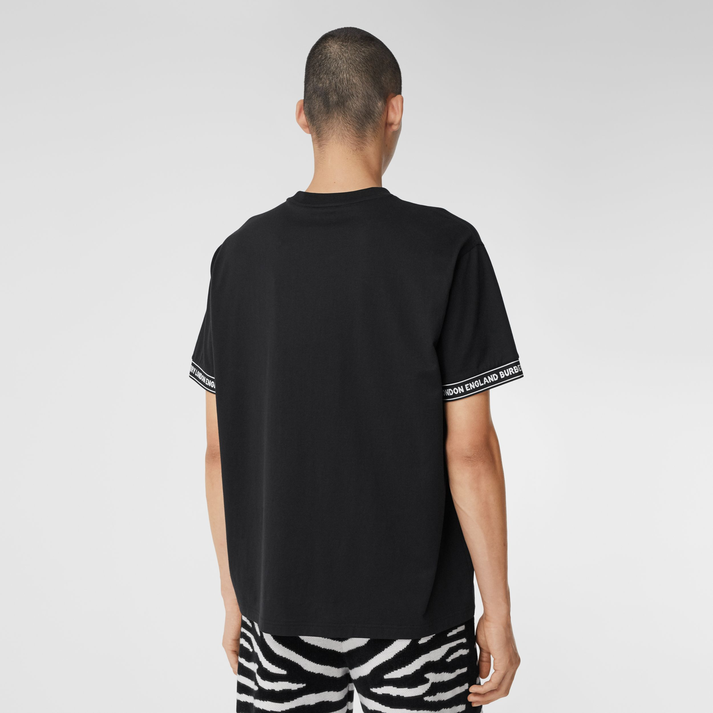 Logo Tape Cotton Oversized T-shirt - Men | Burberry - 3