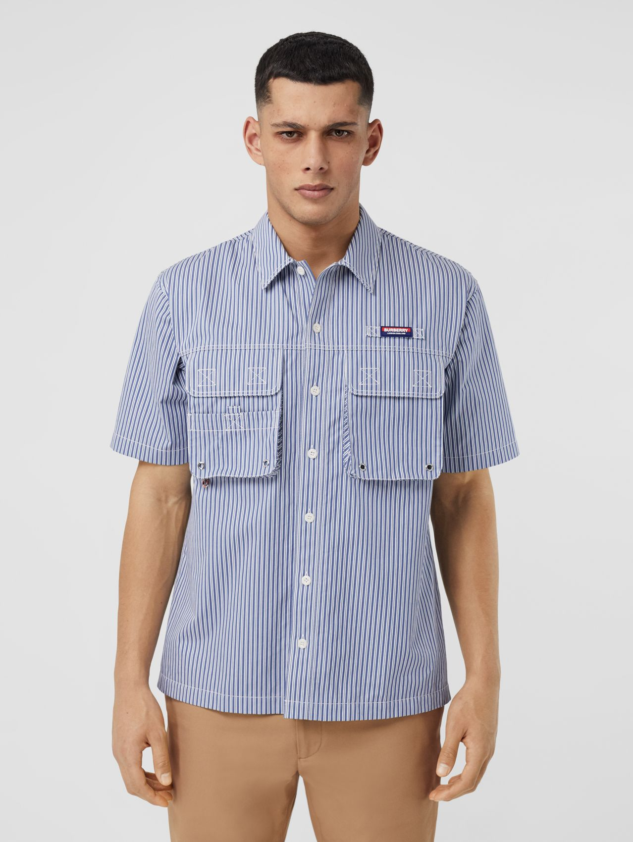 Short-sleeve Logo Appliqué Striped Cotton Shirt in Vivid Cobalt