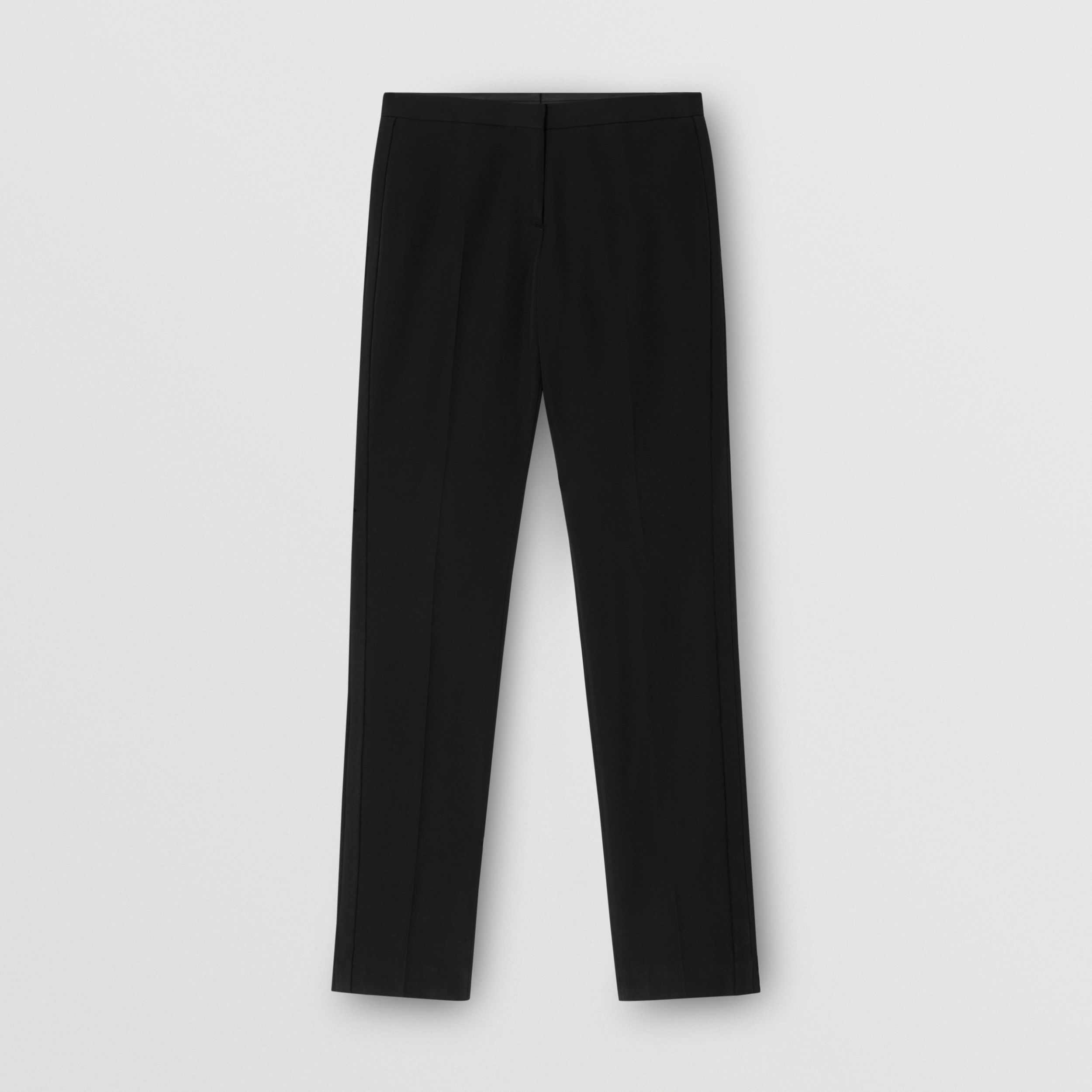 Silk Blend Side Stripe Wool Tailored Trousers in Black - Women | Burberry Australia - 4