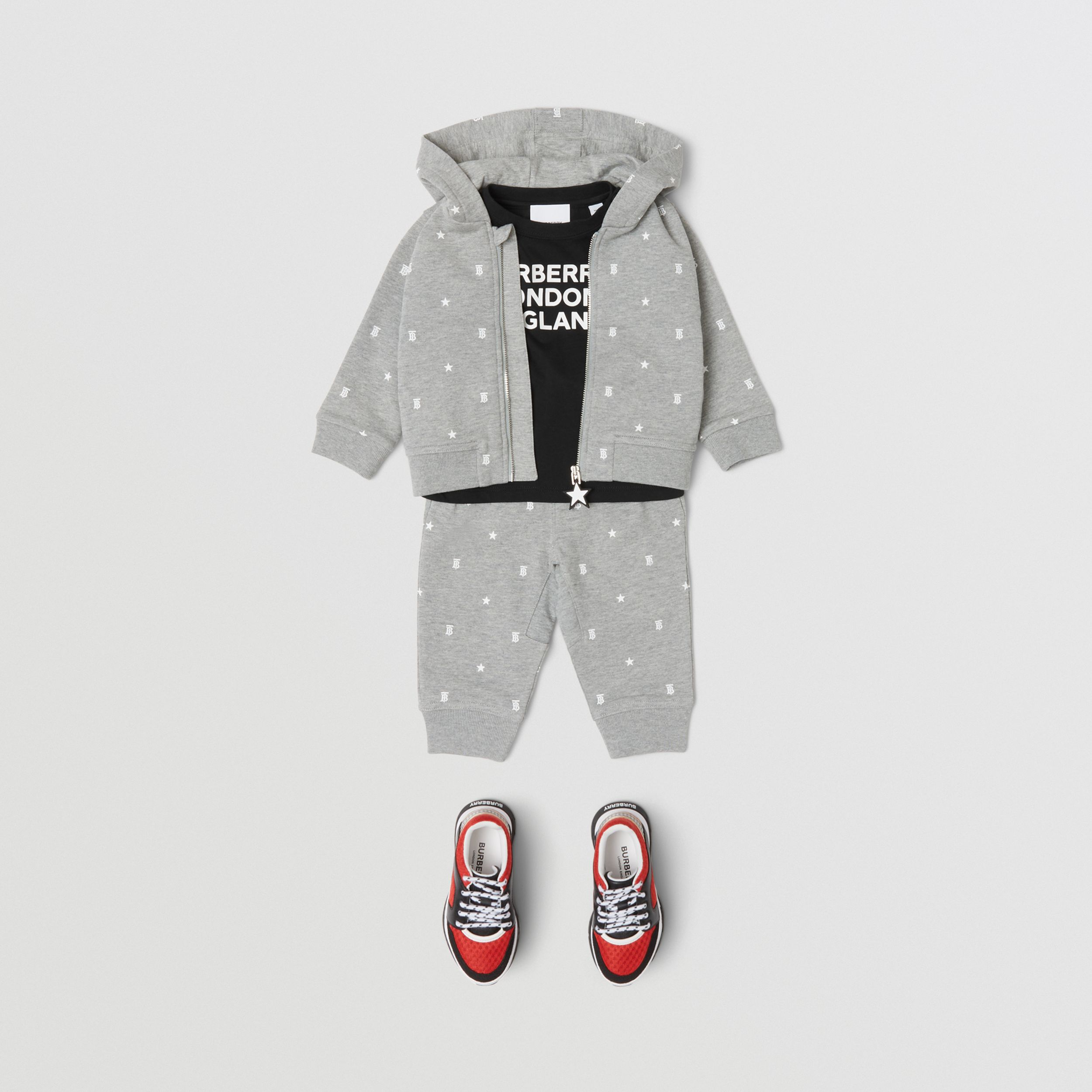 Star and Monogram Print Cotton Hooded Top in Grey - Children | Burberry - 3