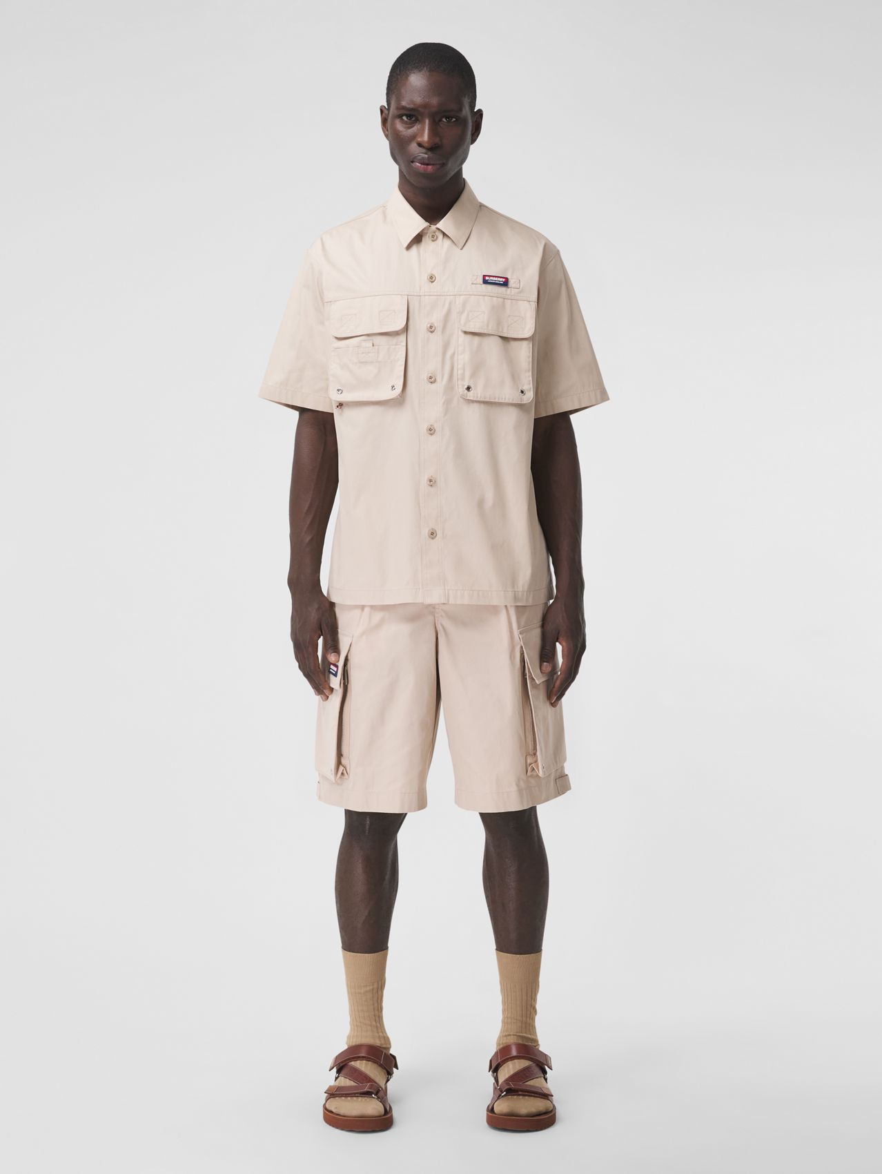 Technical Cotton Cargo Shorts in Soft Fawn