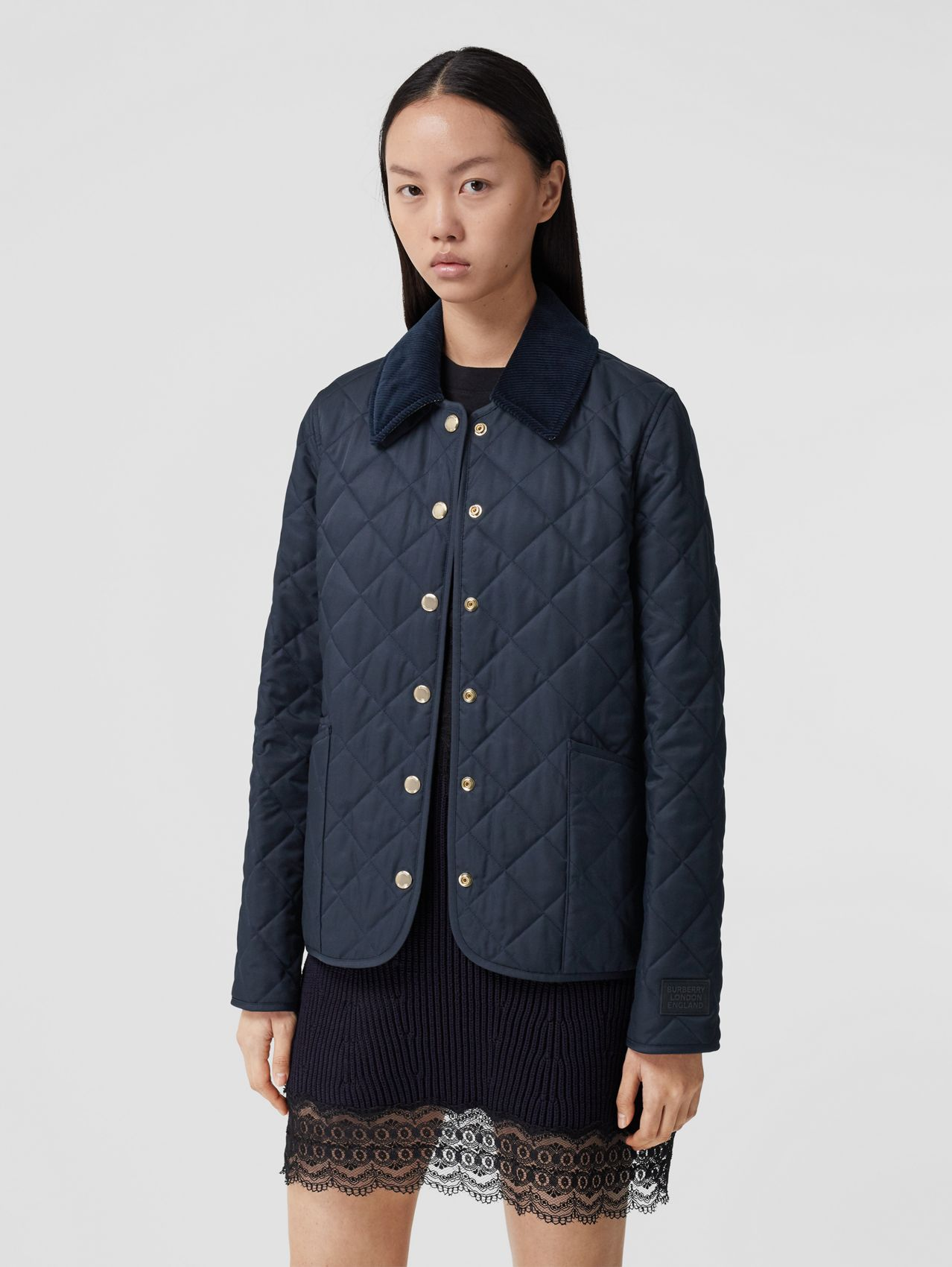 Corduroy Collar Diamond Quilted Jacket in Midnight
