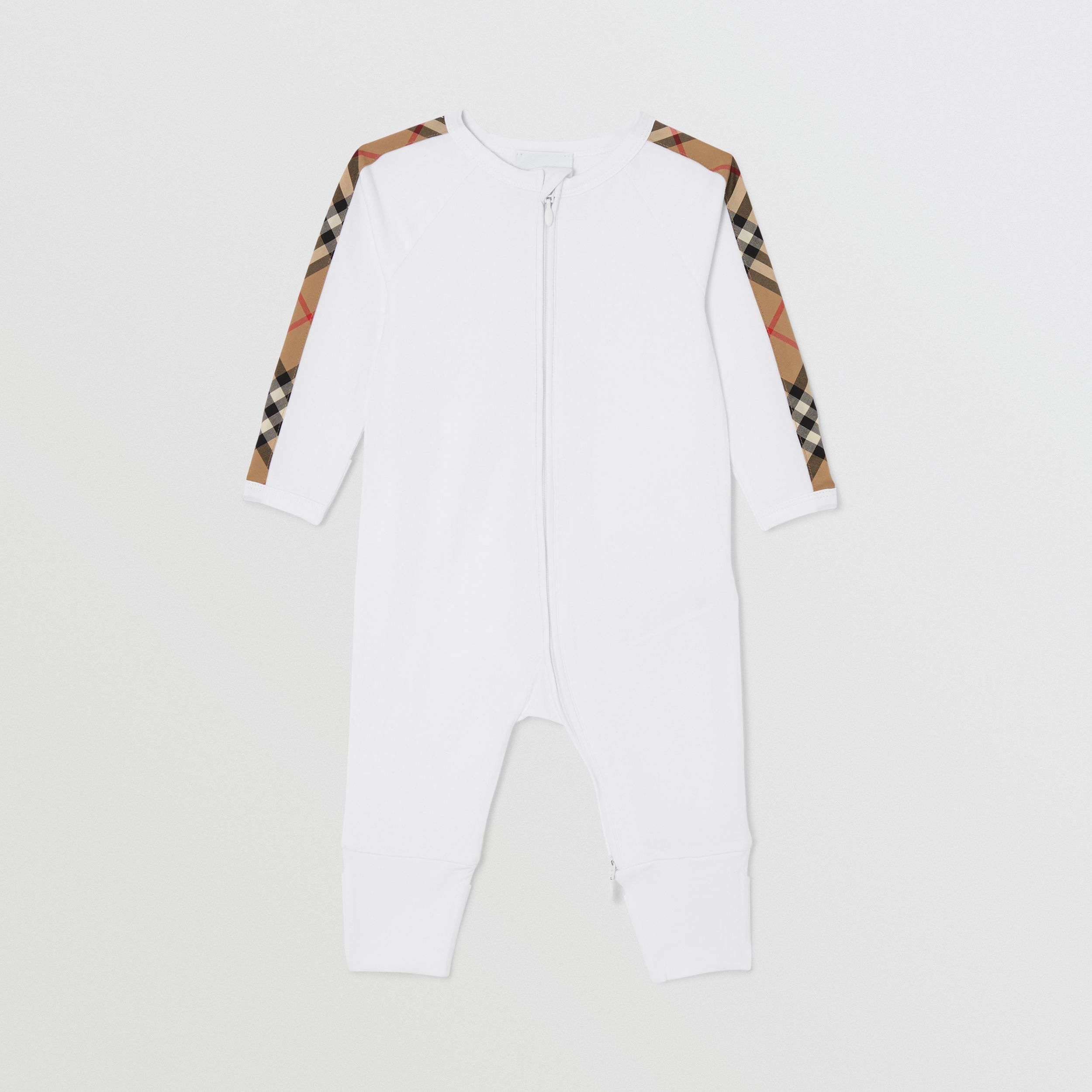 Check Trim Cotton Three-piece Baby Gift Set in White - Children | Burberry - 3
