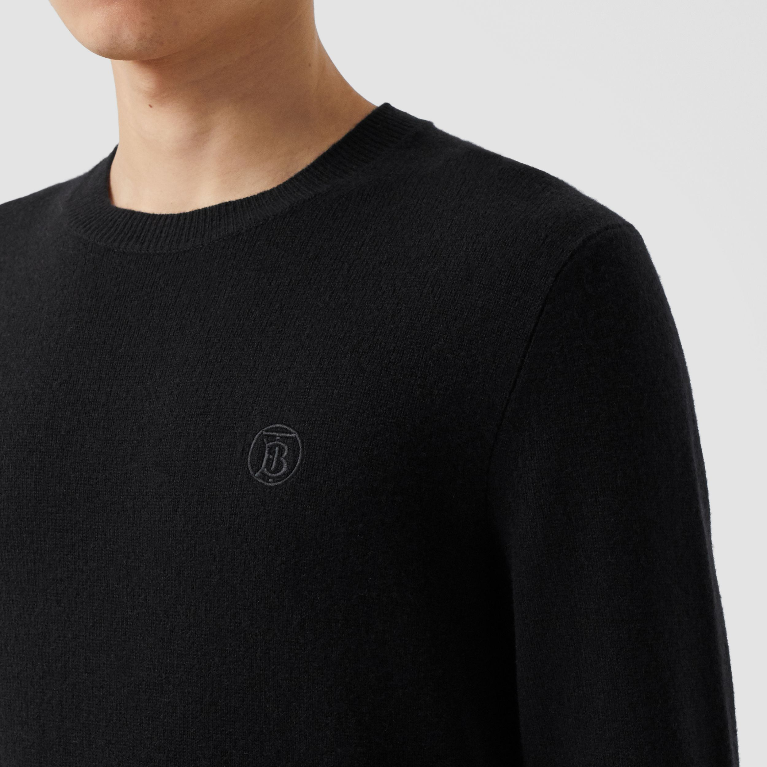 Monogram Motif Cashmere Sweater in Black - Men | Burberry Australia - 2
