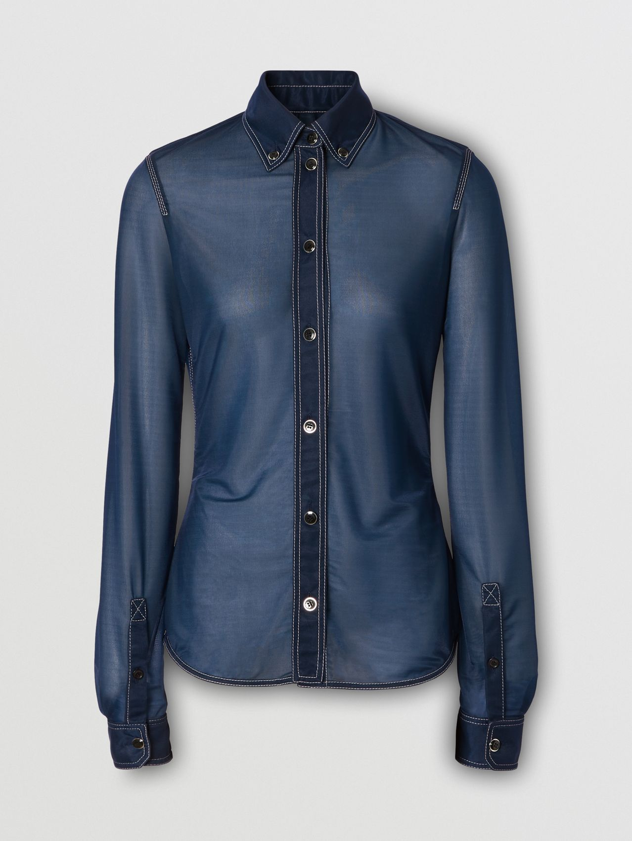 Button-down Collar Sheer Stretch Jersey Shirt in Dark Carbon Blue