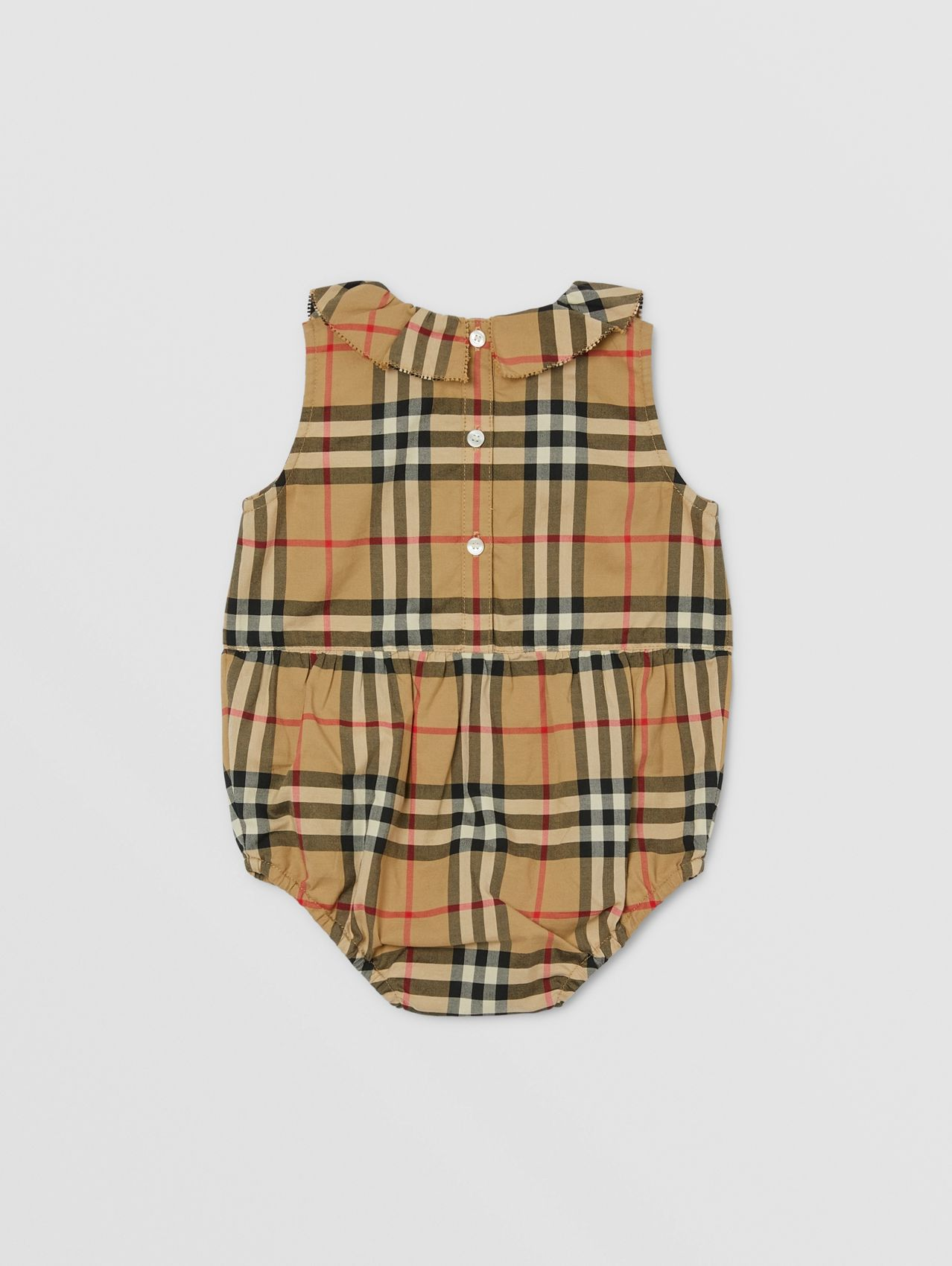 Ruffle Collar Vintage Check Cotton Bodysuit in Archive Beige