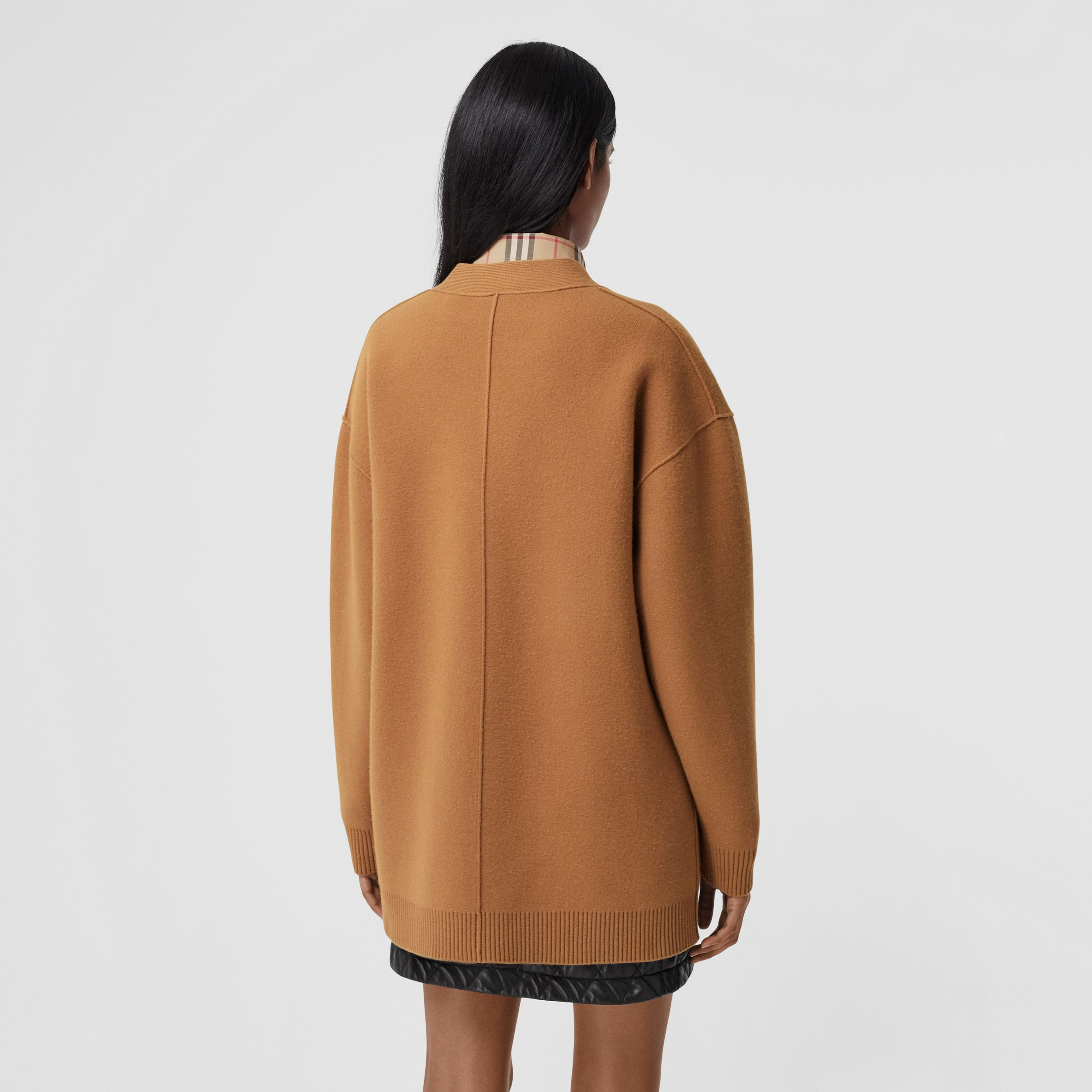Merino Wool Cashmere Blend Oversized Cardigan in Warm Camel - Women | Burberry - 3