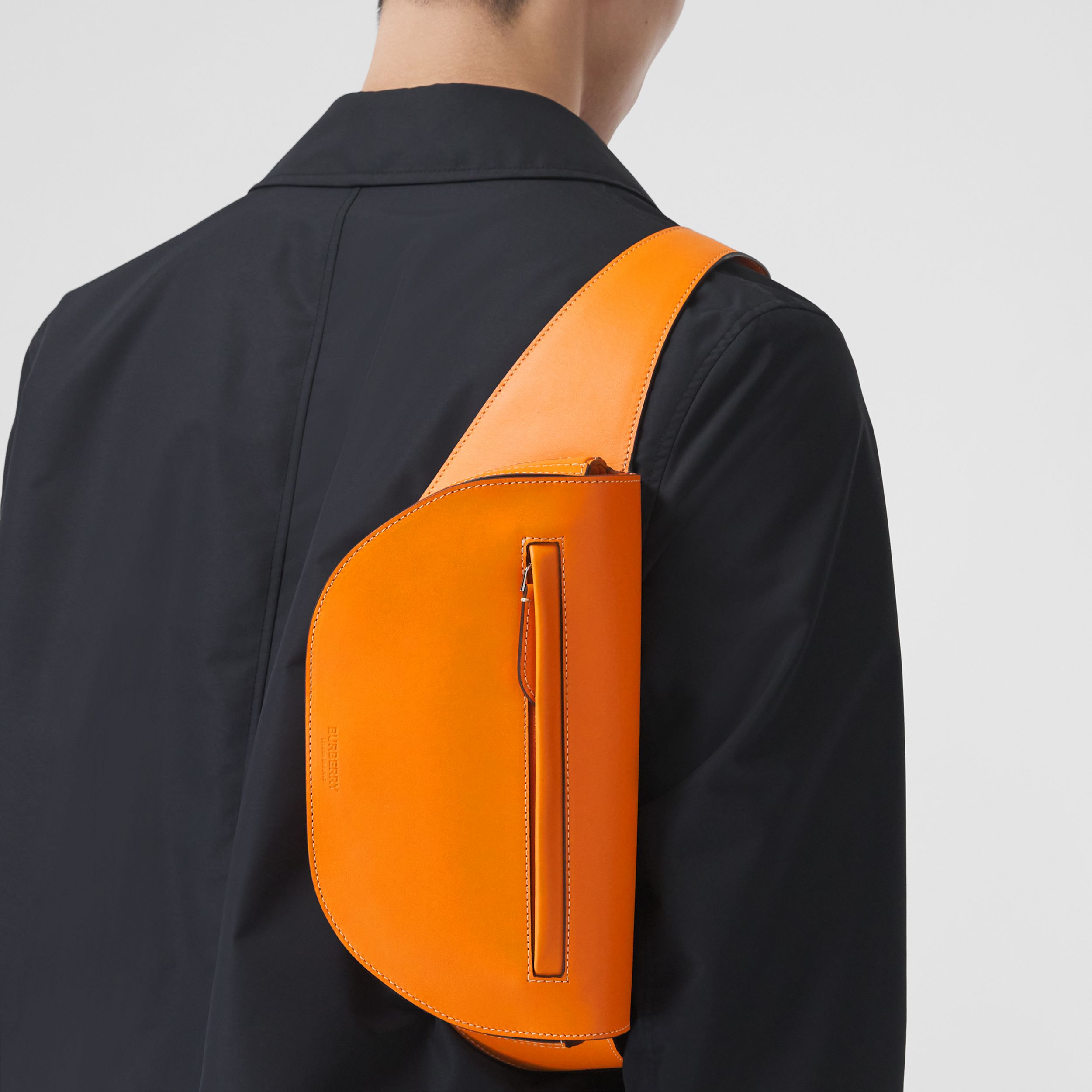 Small Leather Olympia Bum Bag in Deep Orange - Men | Burberry - 3