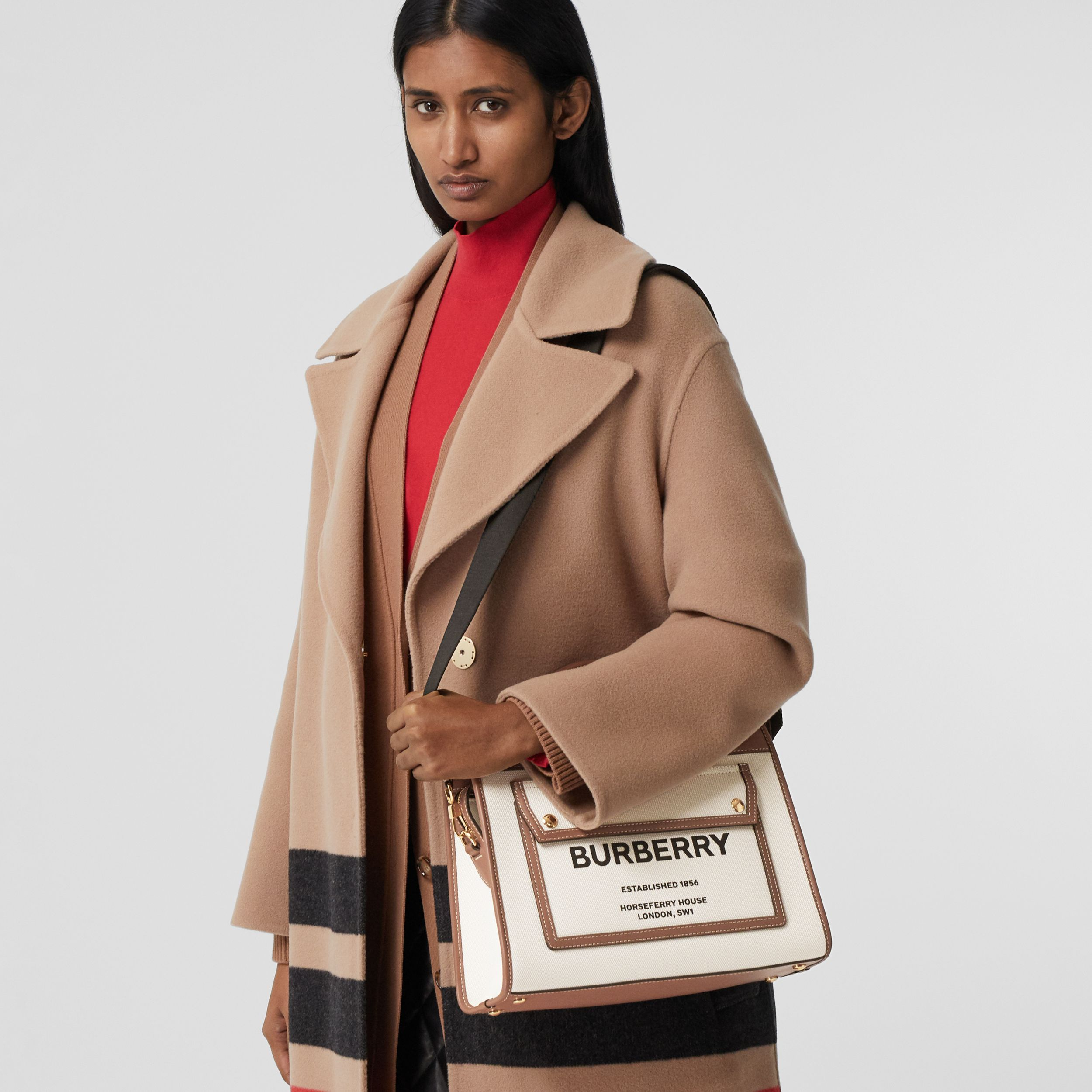 Small Two-tone Canvas and Leather Pocket Tote in Natural/malt Brown - Women | Burberry - 3
