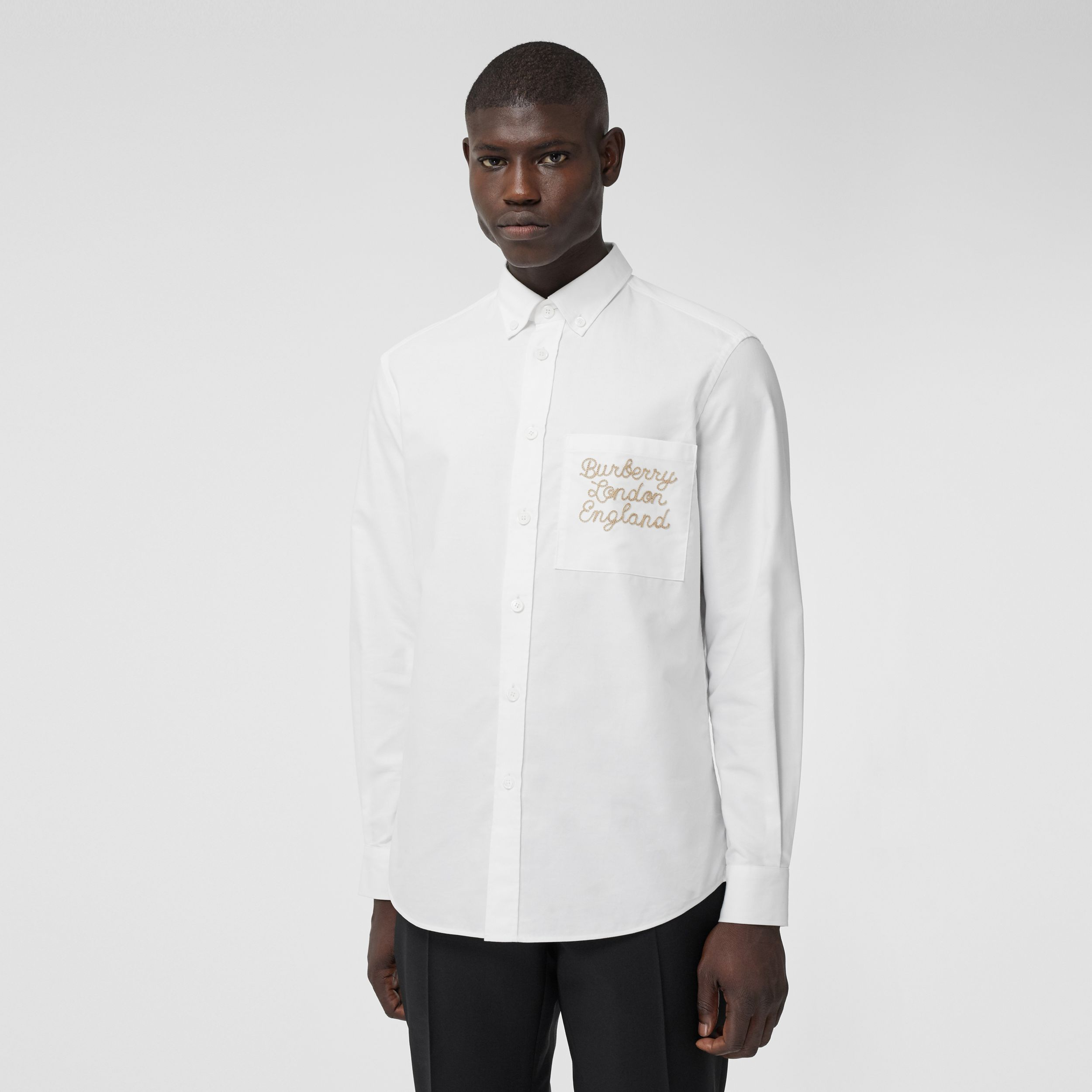 Embroidered Logo Cotton Oxford Shirt in White - Men | Burberry - 1