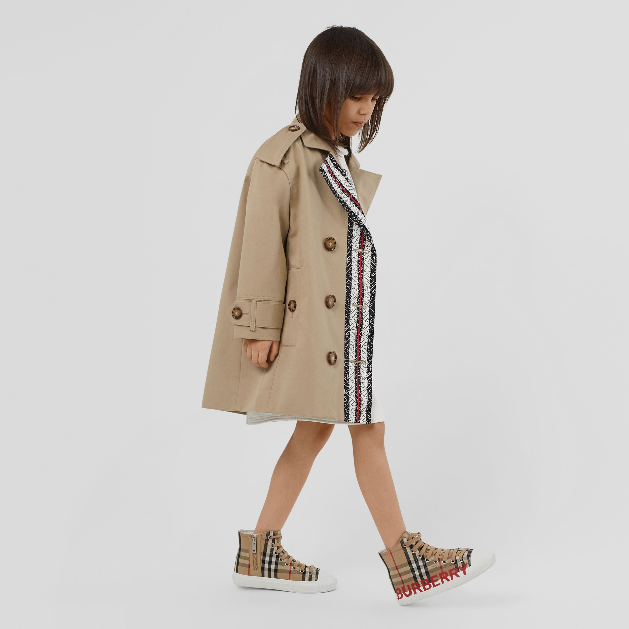 Monogram Stripe Print Cotton Trench Coat in Honey | Burberry - 3