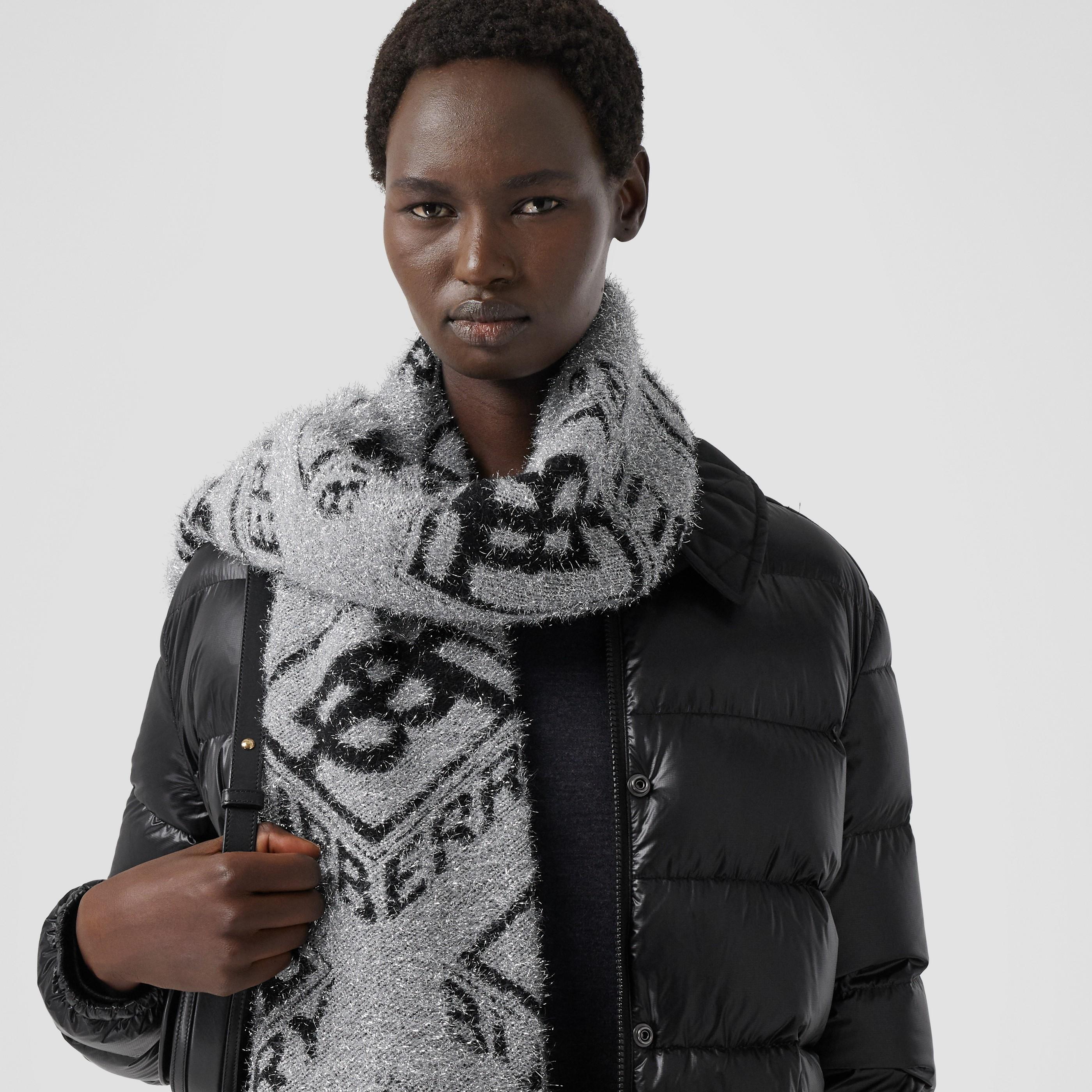 Sciarpa in misto lana con monogramma metallizzato (Nero) | Burberry - 3